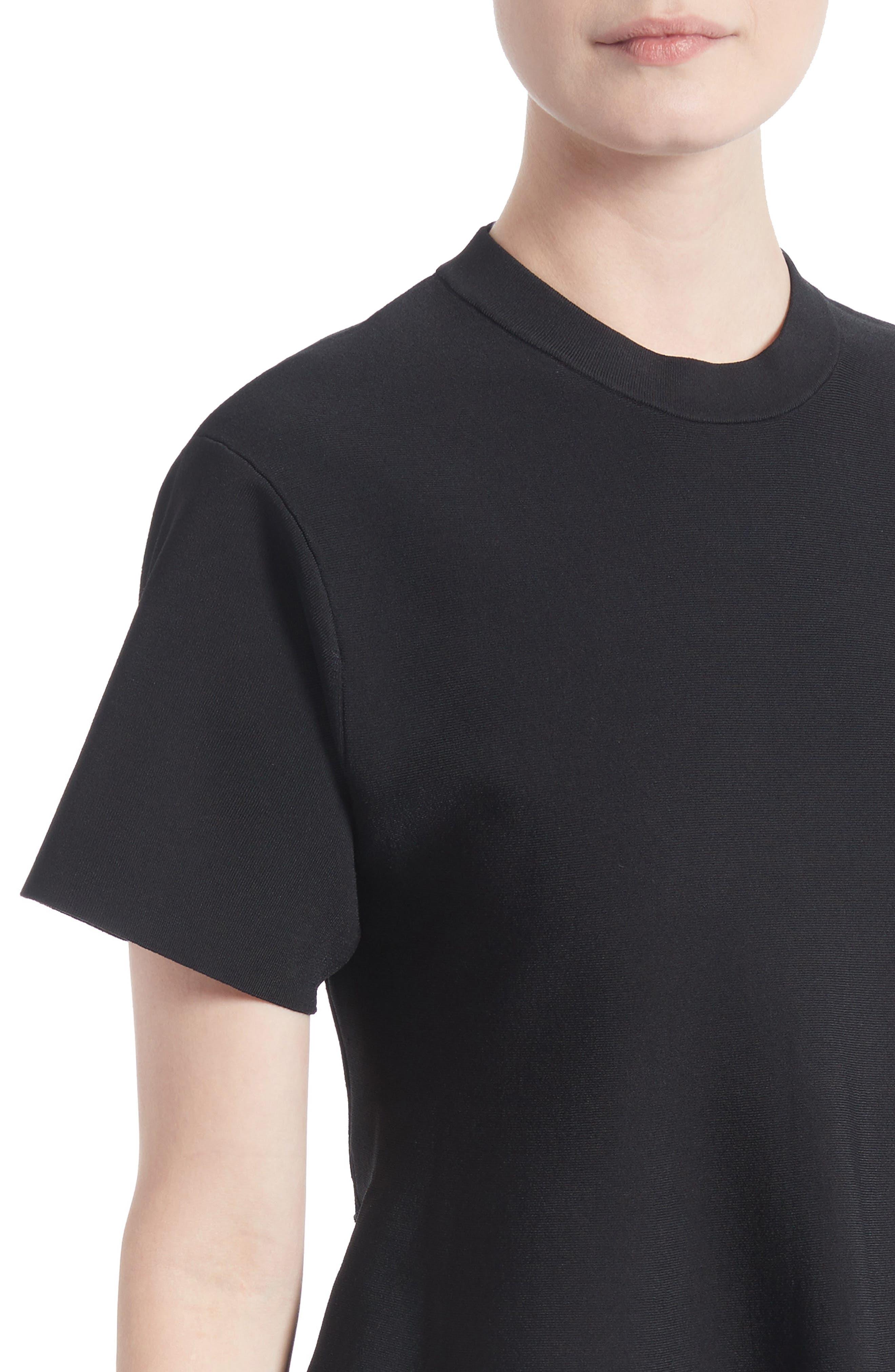 Knit Flare Top,                             Alternate thumbnail 4, color,                             Black
