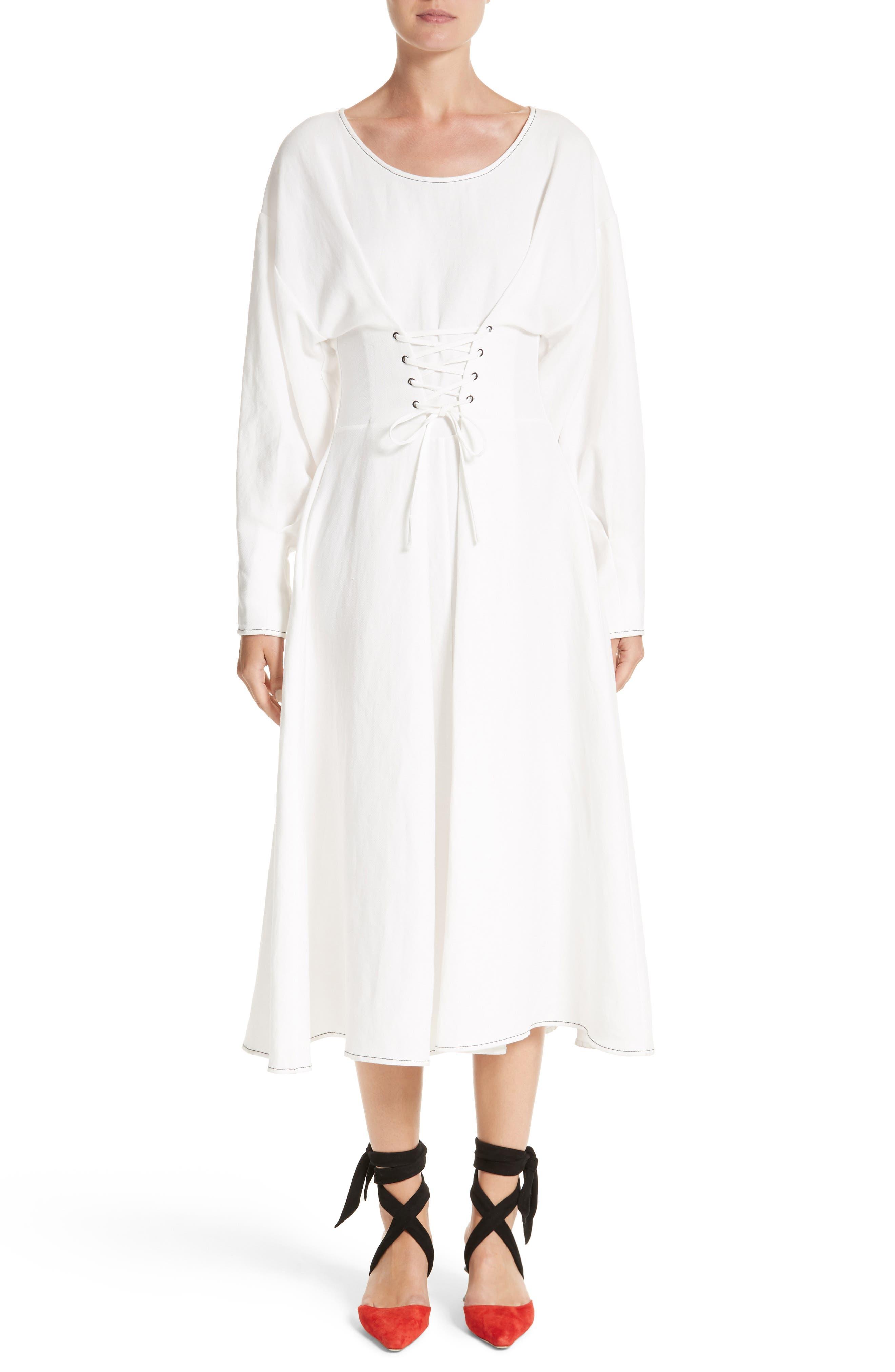 Rejina Pyo Corset Laced Linen Blend Dress