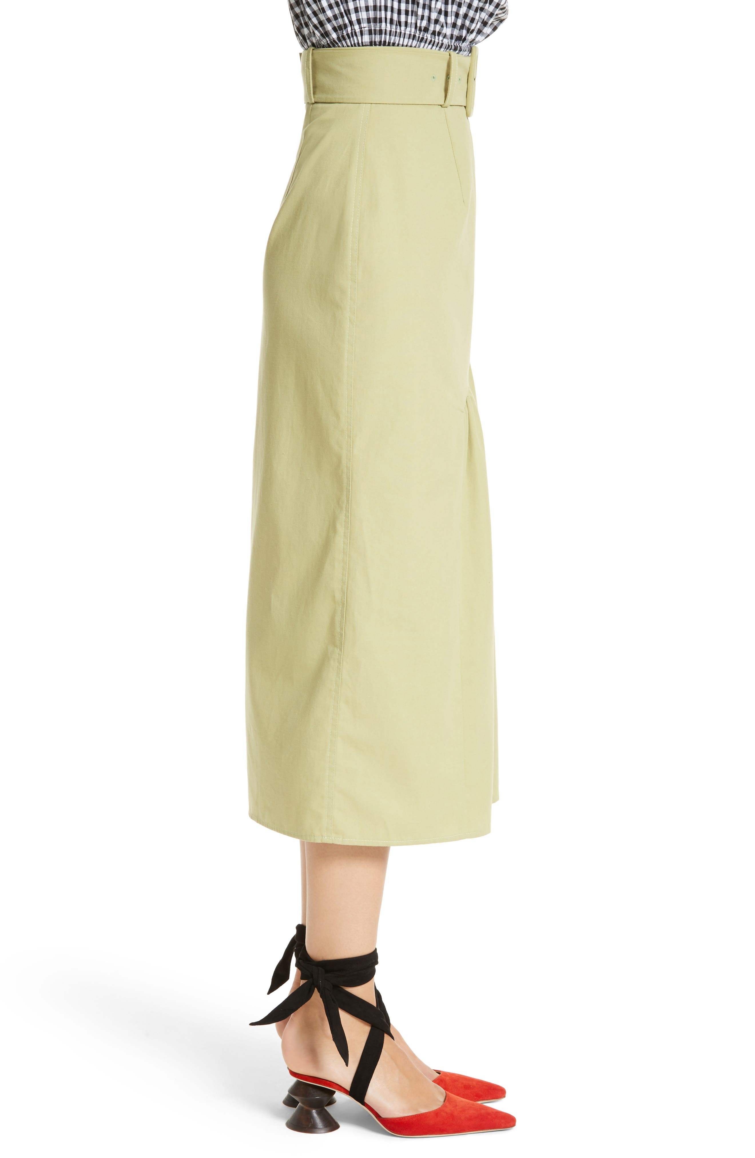 Belted High Waist Ruffle Skirt,                             Alternate thumbnail 3, color,                             Cotton Sage Green