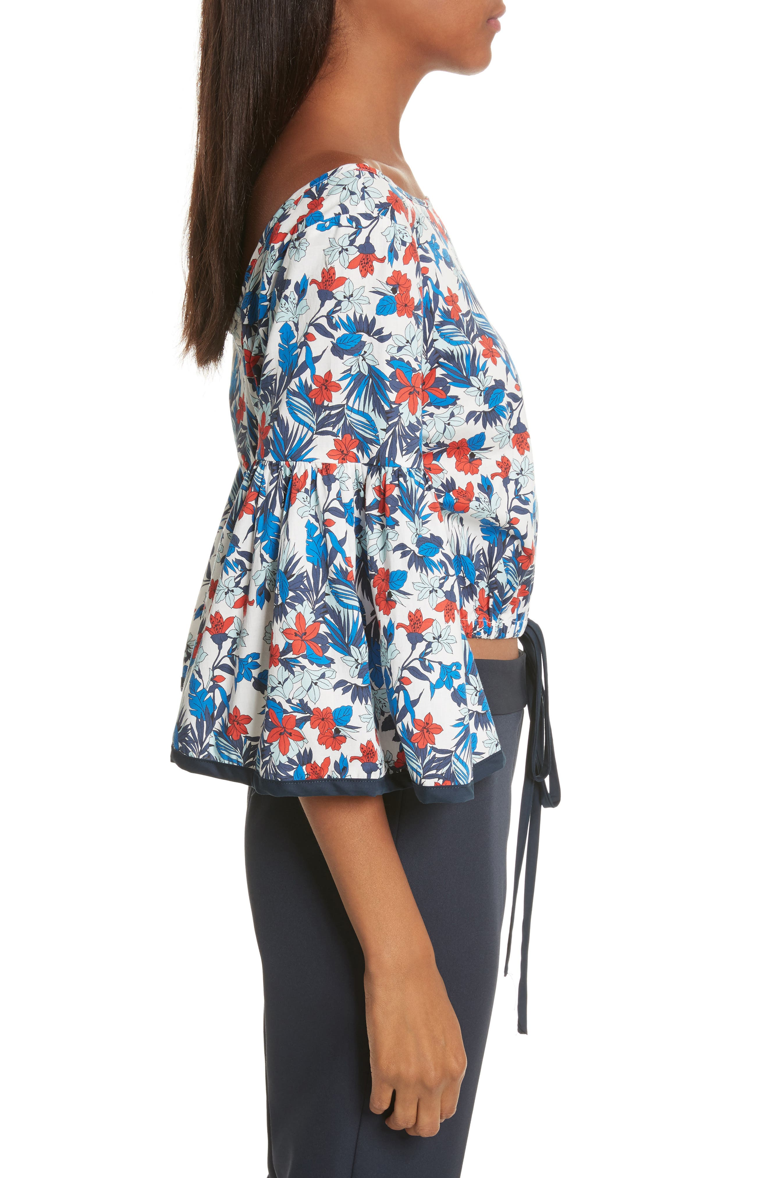 Alternate Image 3  - Milly Hibiscus Print Stretch Cotton Top