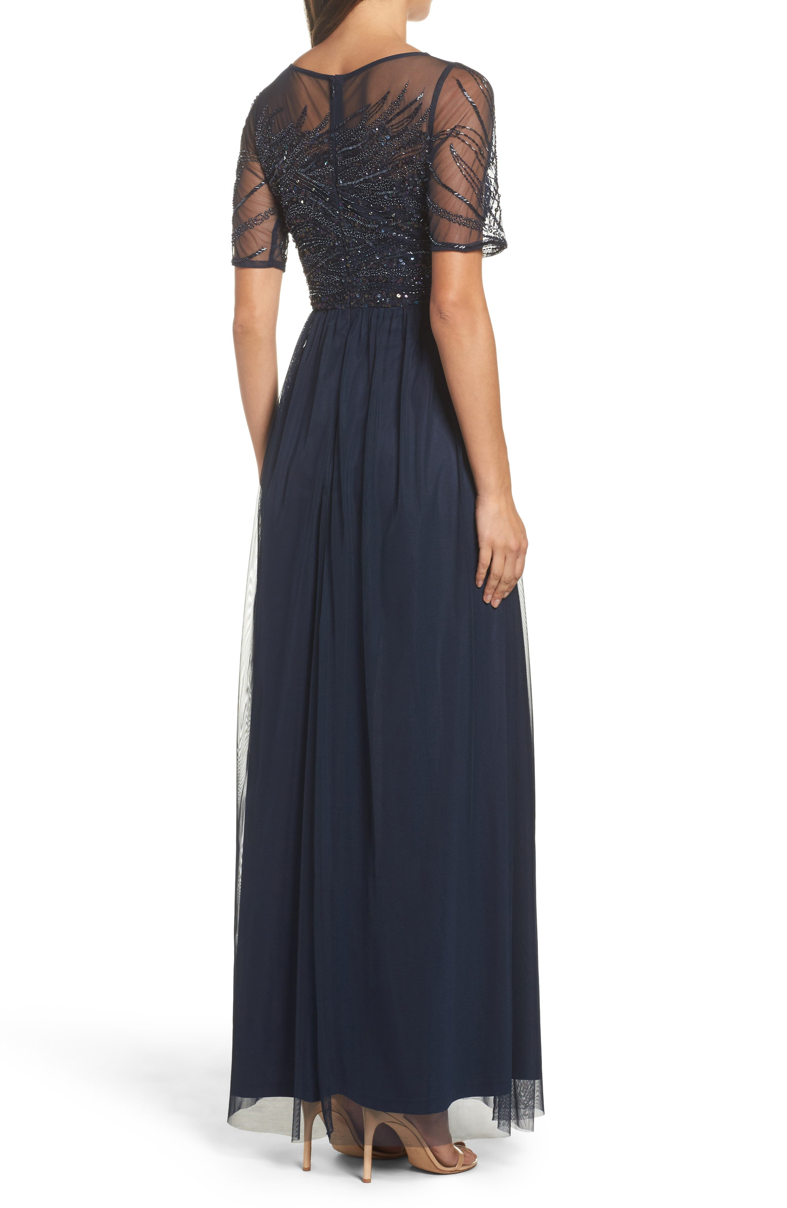 Alternate Image 2  - Adrianna Papell Beaded Bodice Mesh Gown (Regular & Petite)
