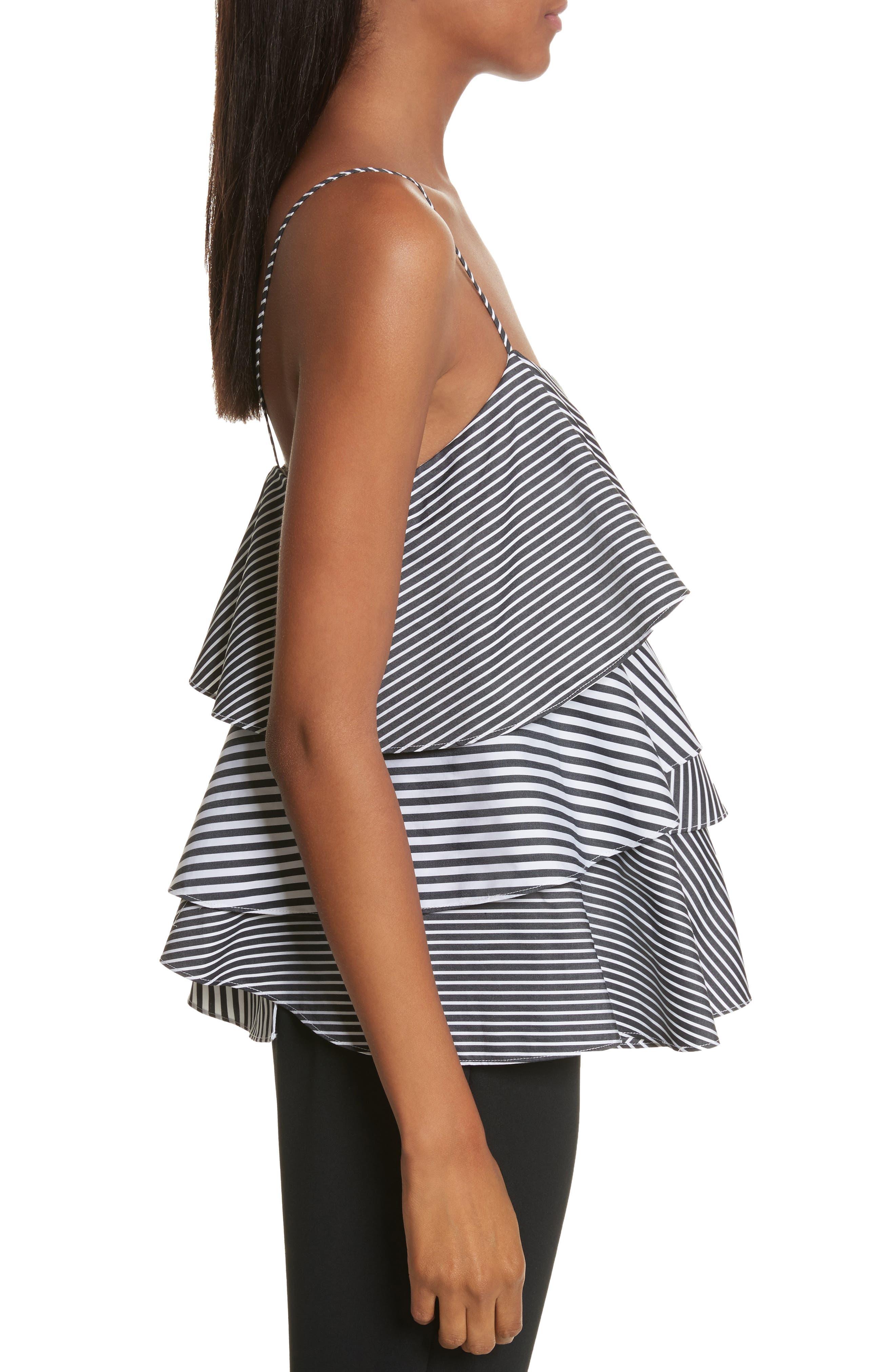 Emma Stripe Shirting Top,                             Alternate thumbnail 3, color,                             Black