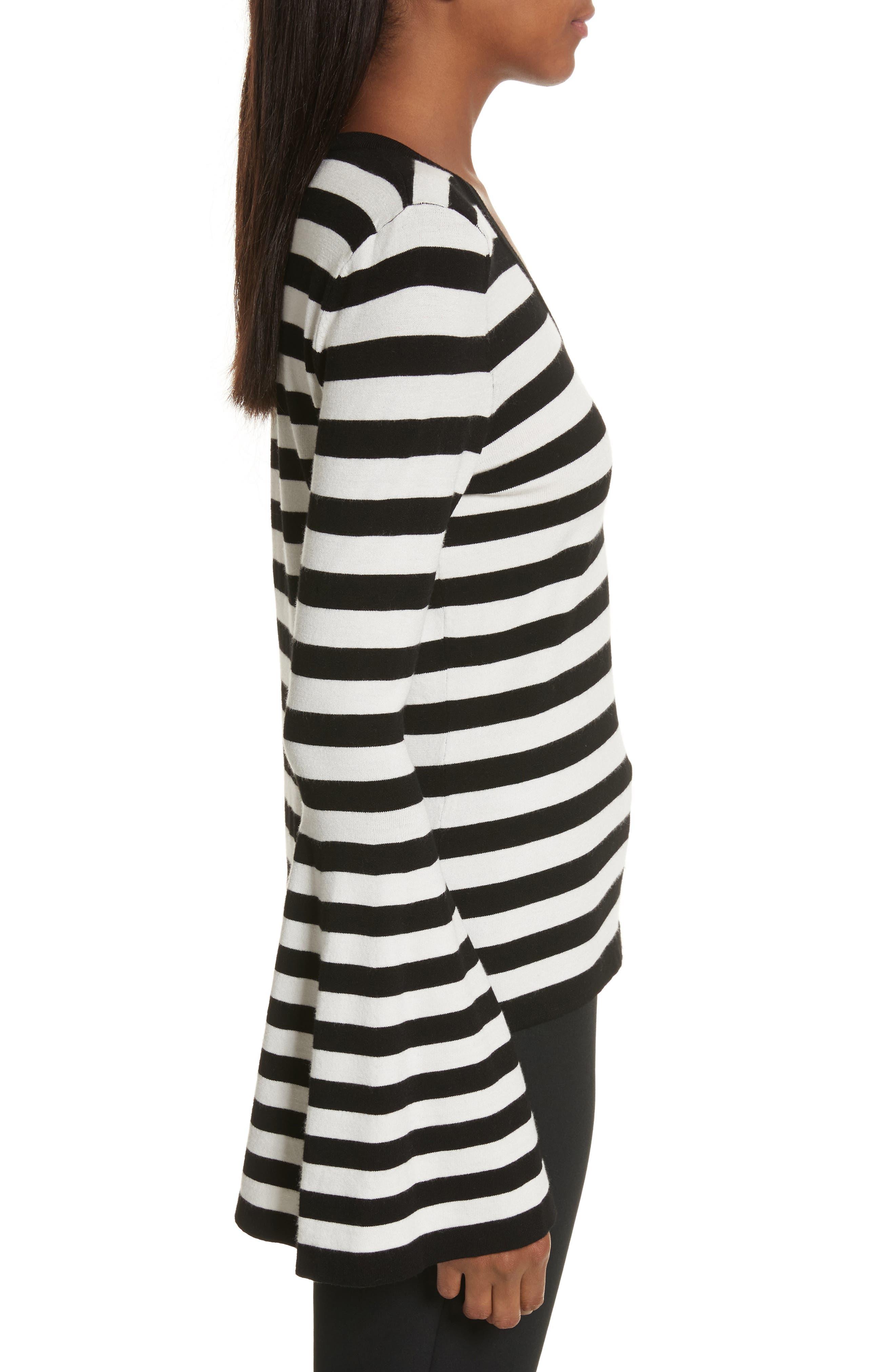 Bell Sleeve V-Neck Sweater,                             Alternate thumbnail 4, color,                             Black/ White