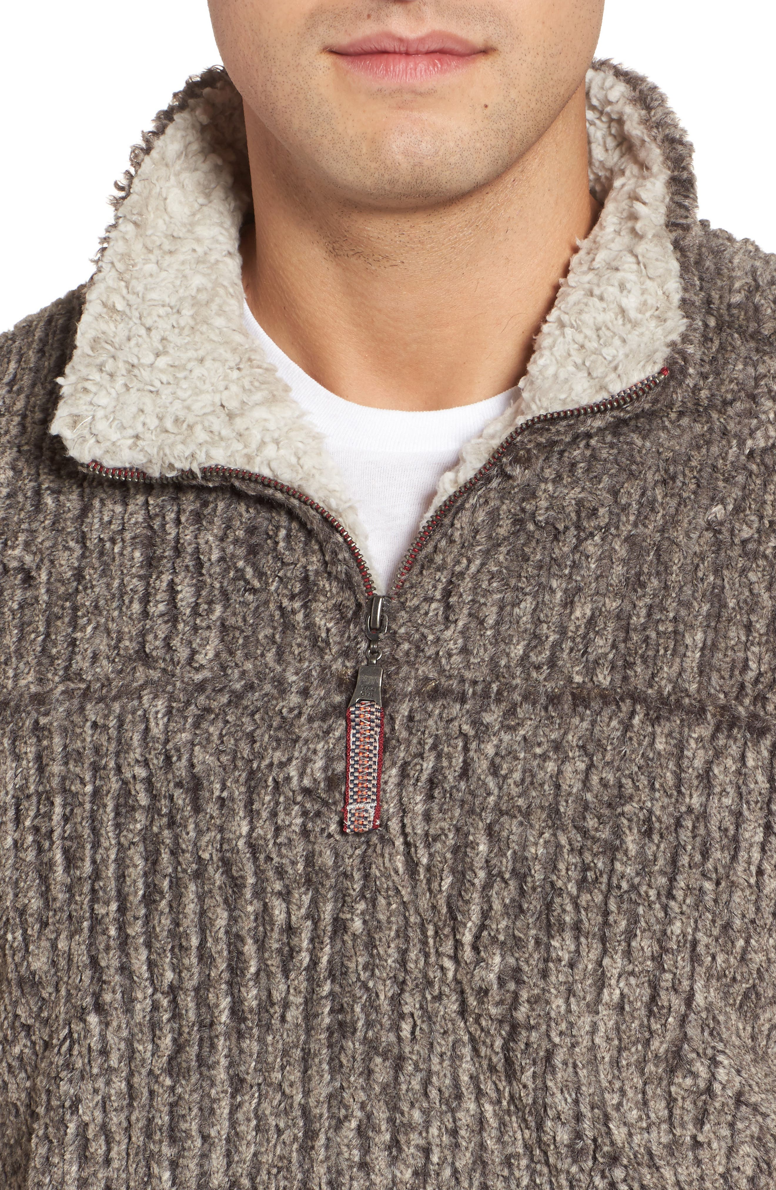 Frosty Cord Pile Quarter Zip Pullover,                             Alternate thumbnail 4, color,                             Brown