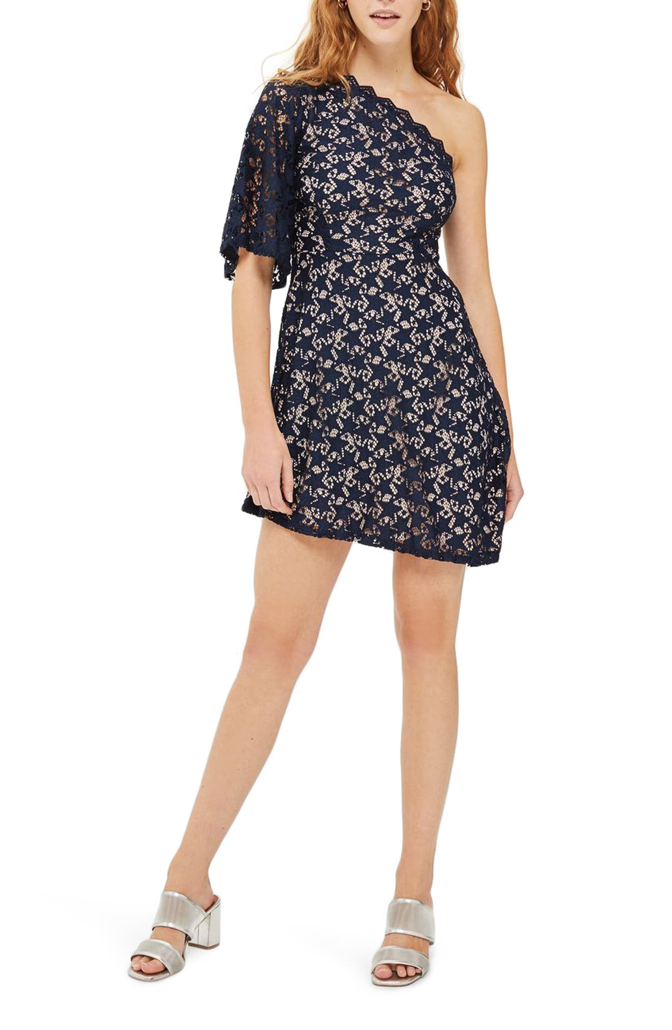 Star Print Lace Minidress,                         Main,                         color, Navy Blue Multi
