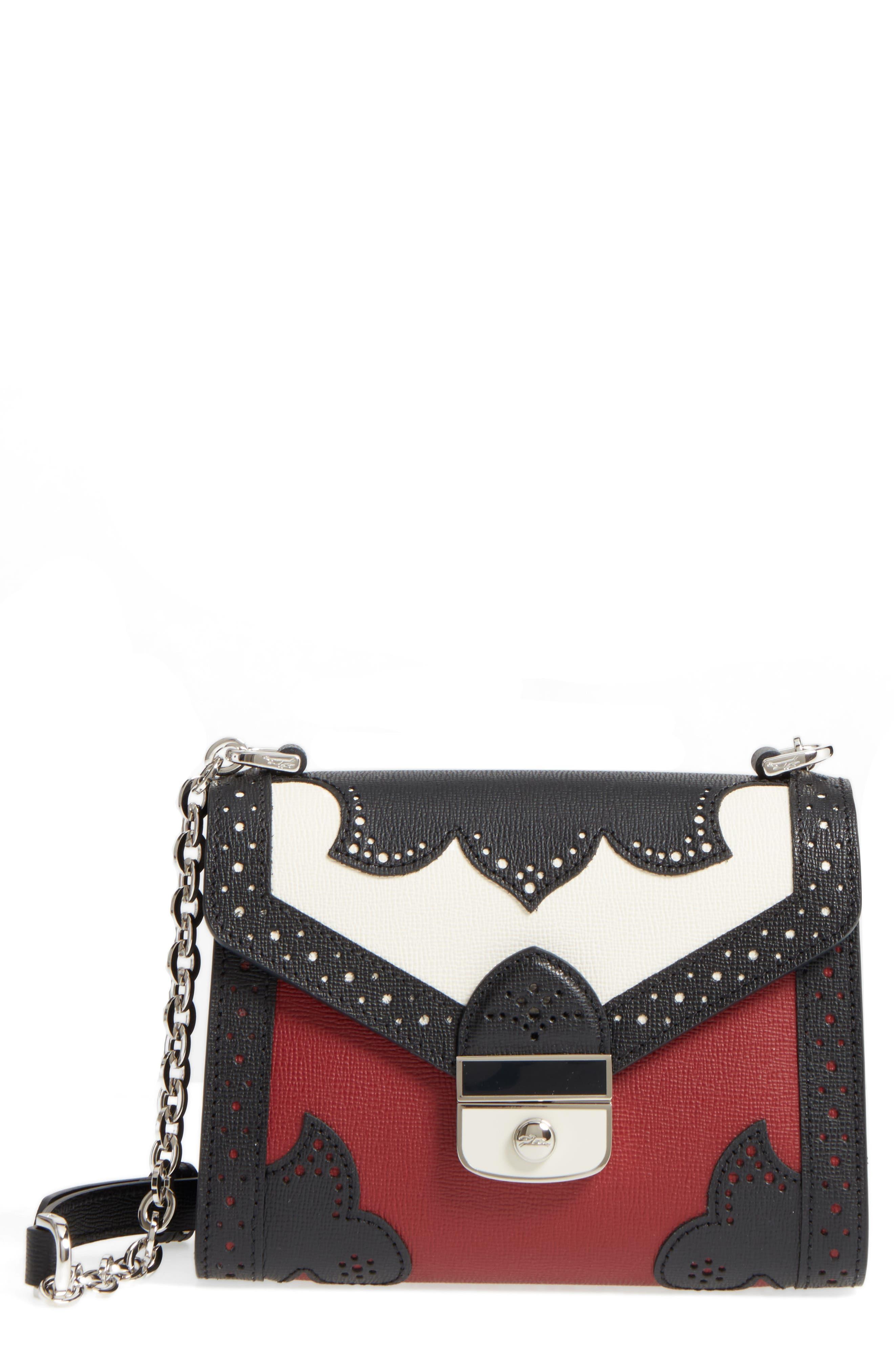 Effrontée Leather Crossbody Bag,                         Main,                         color, Red Lacquer