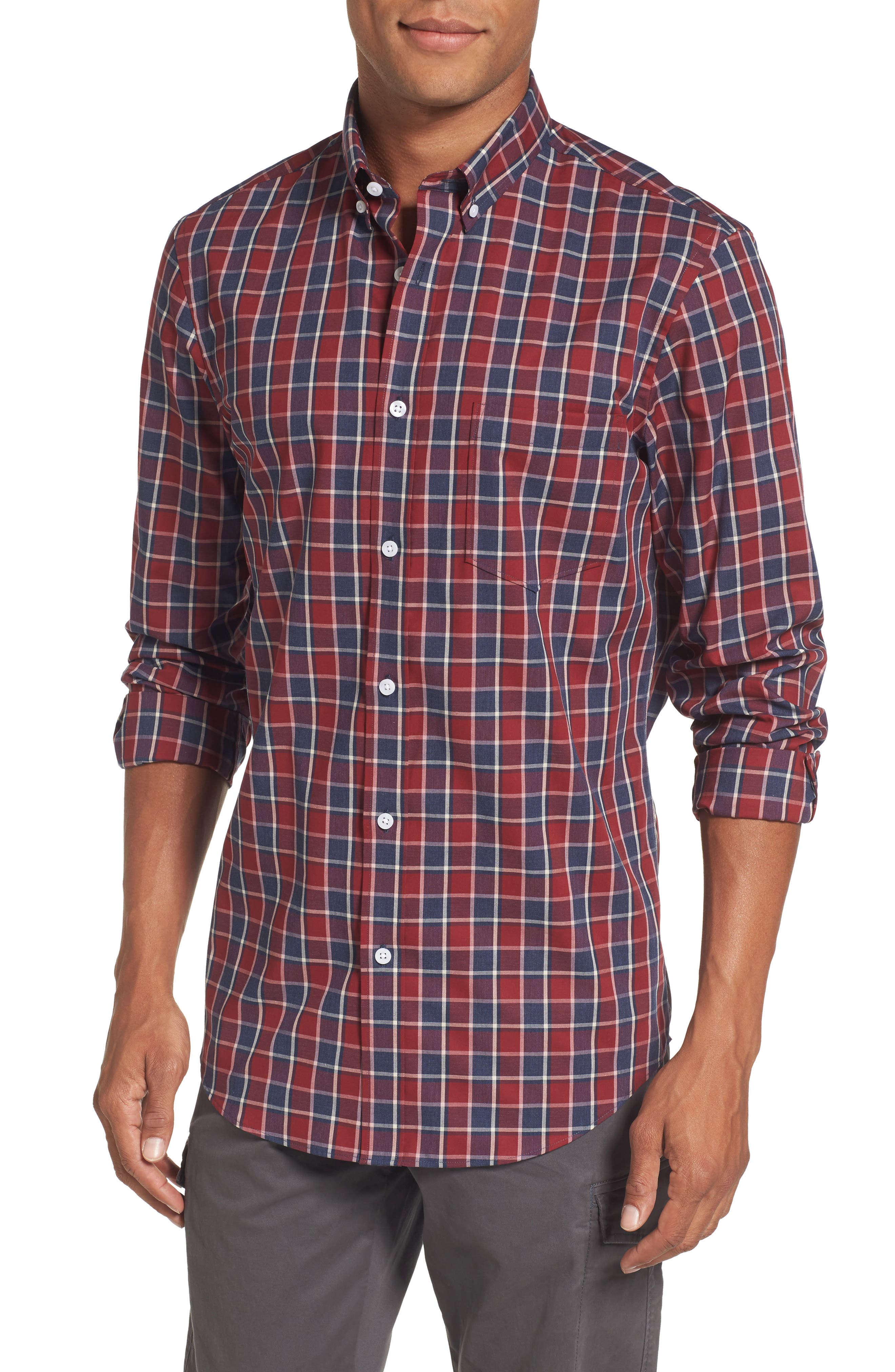 Non-Iron Check Sport Shirt,                         Main,                         color, Red Ruby Heathered Check