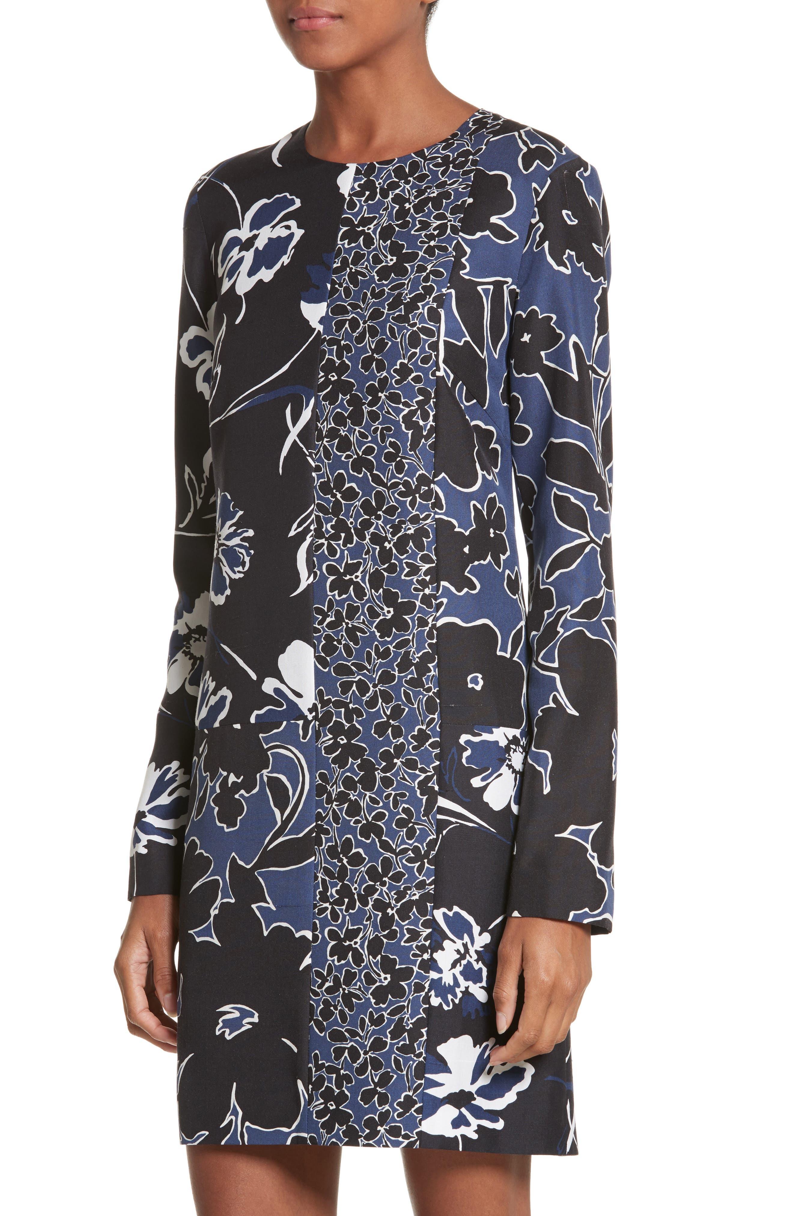 Floral Dupioni Silk Shift Dress,                             Alternate thumbnail 4, color,                             Sapphire