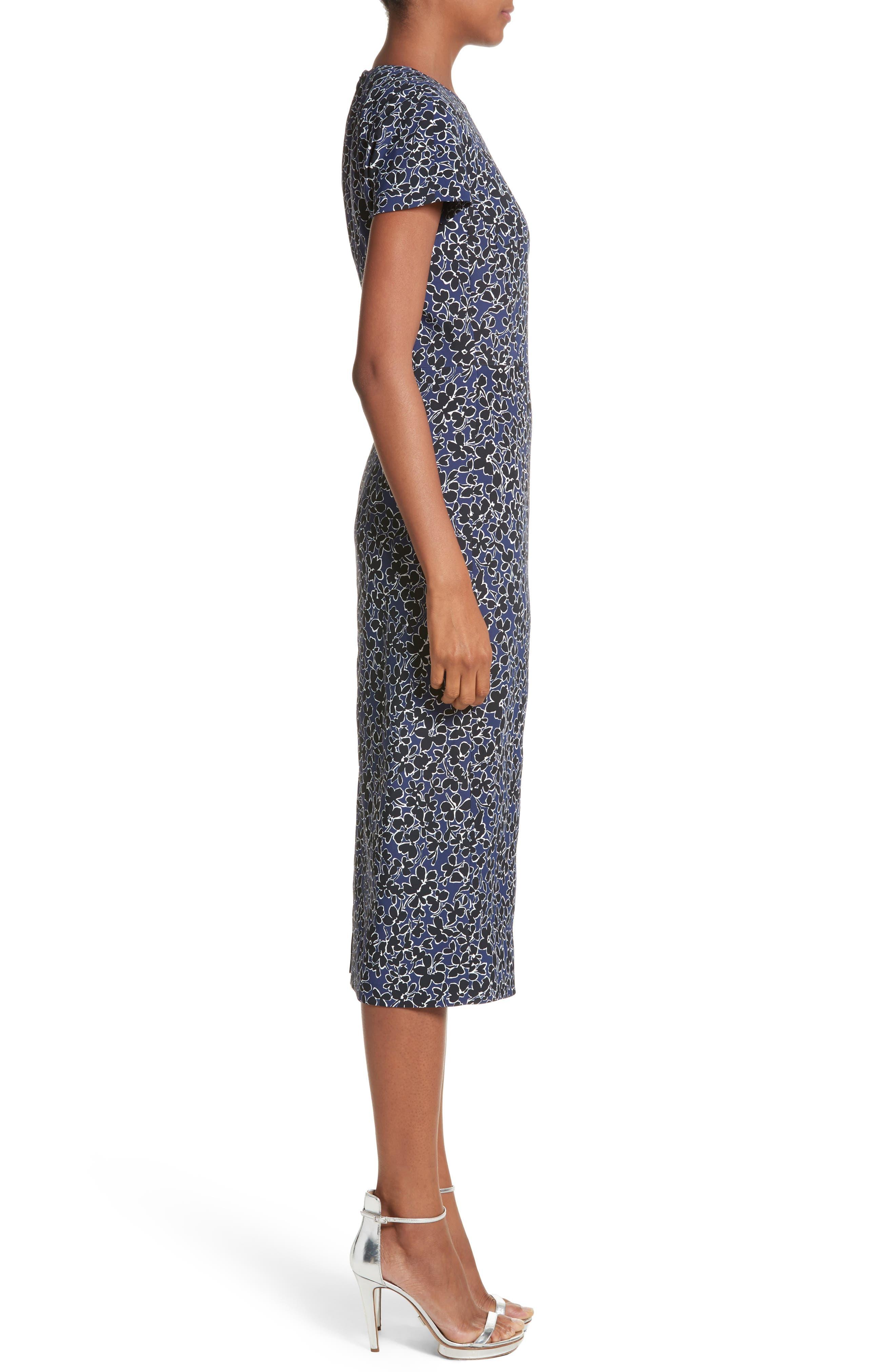 Floral T-Shirt Sheath Dress,                             Alternate thumbnail 3, color,                             Sapphire