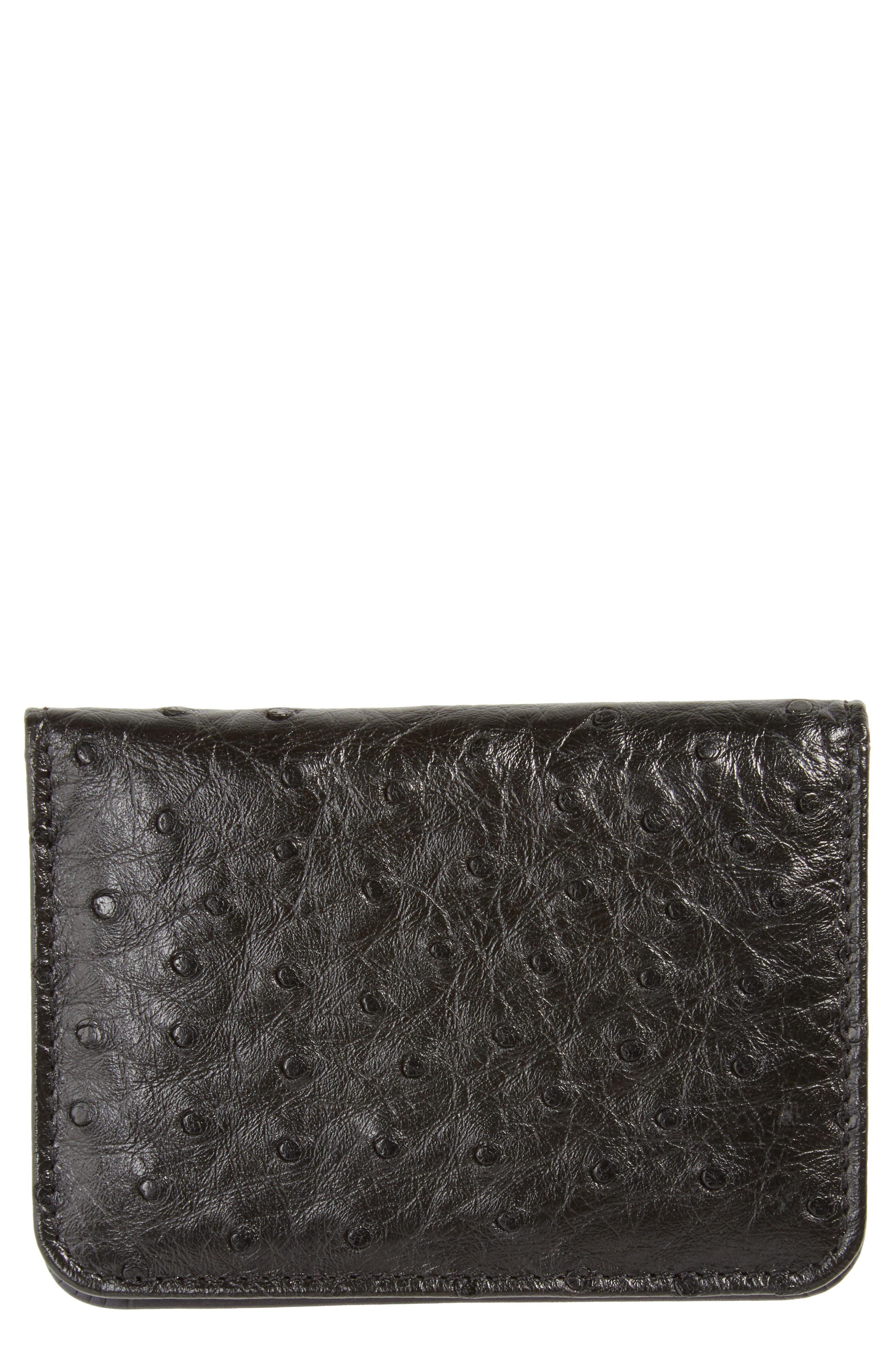 Mezlan Ostrich Leather Card Case