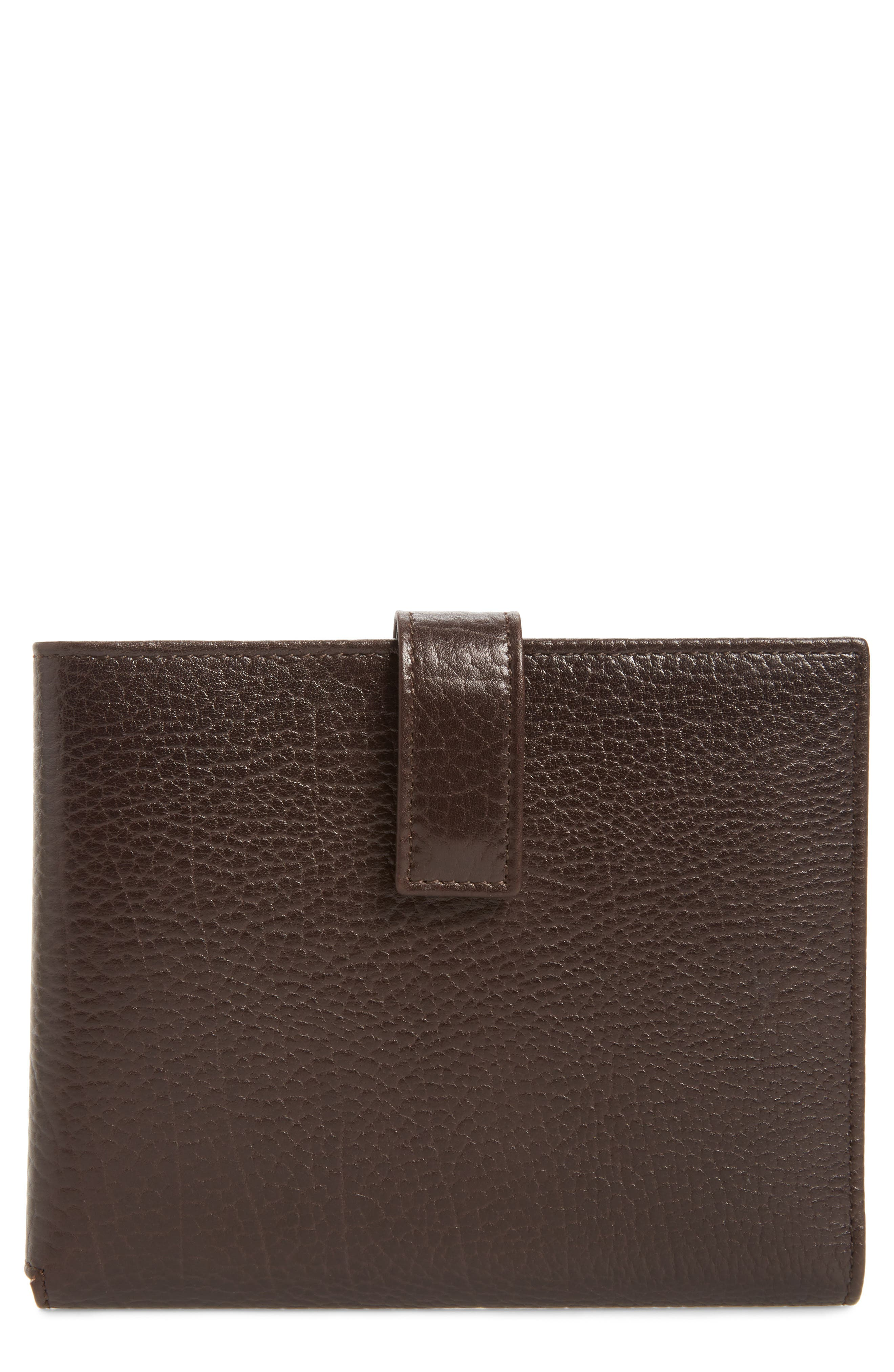 Perseo Leather Travel Wallet,                         Main,                         color, Brown