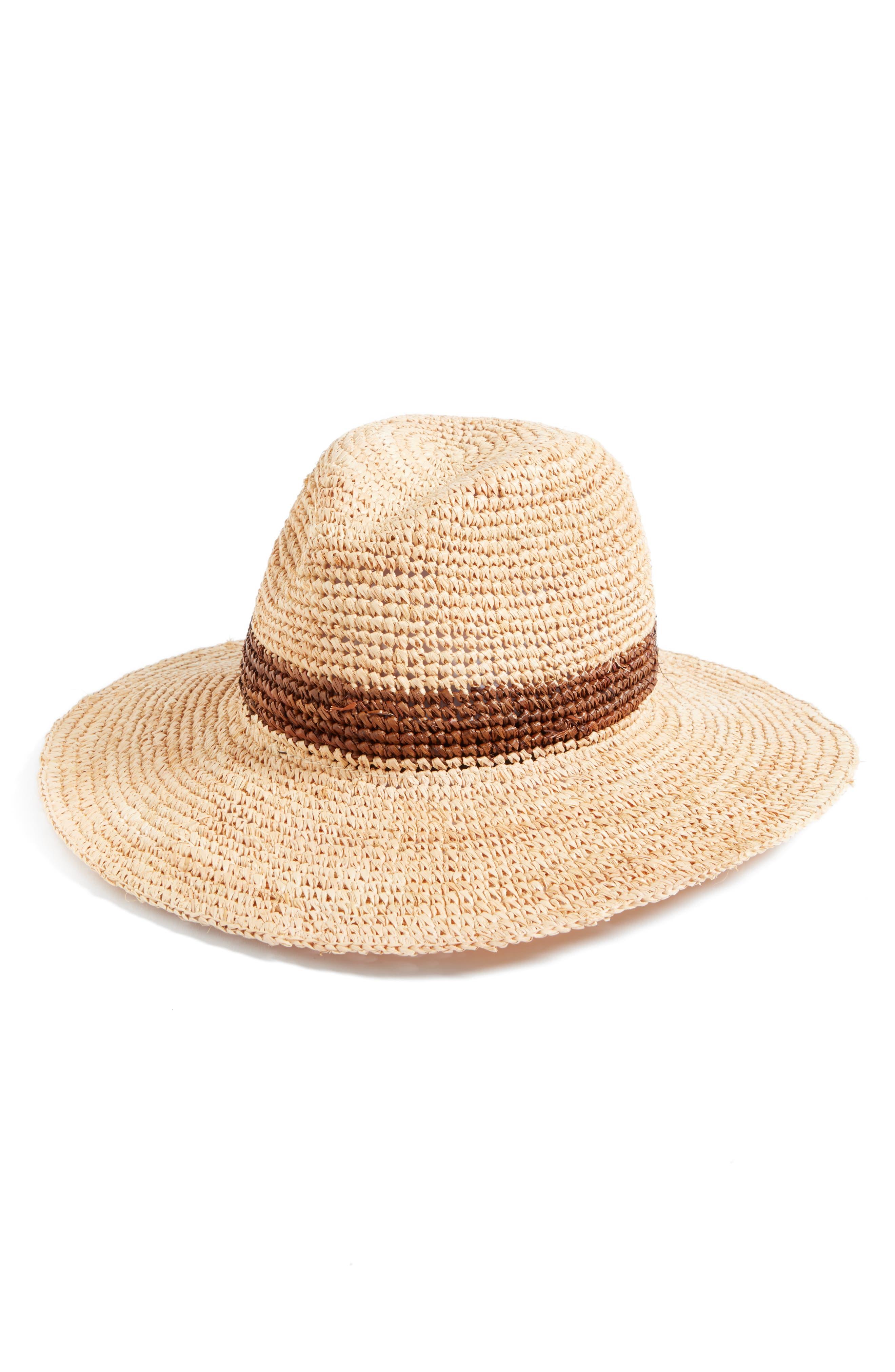 Stanton Raffia Safari Hat,                             Main thumbnail 1, color,                             Brown