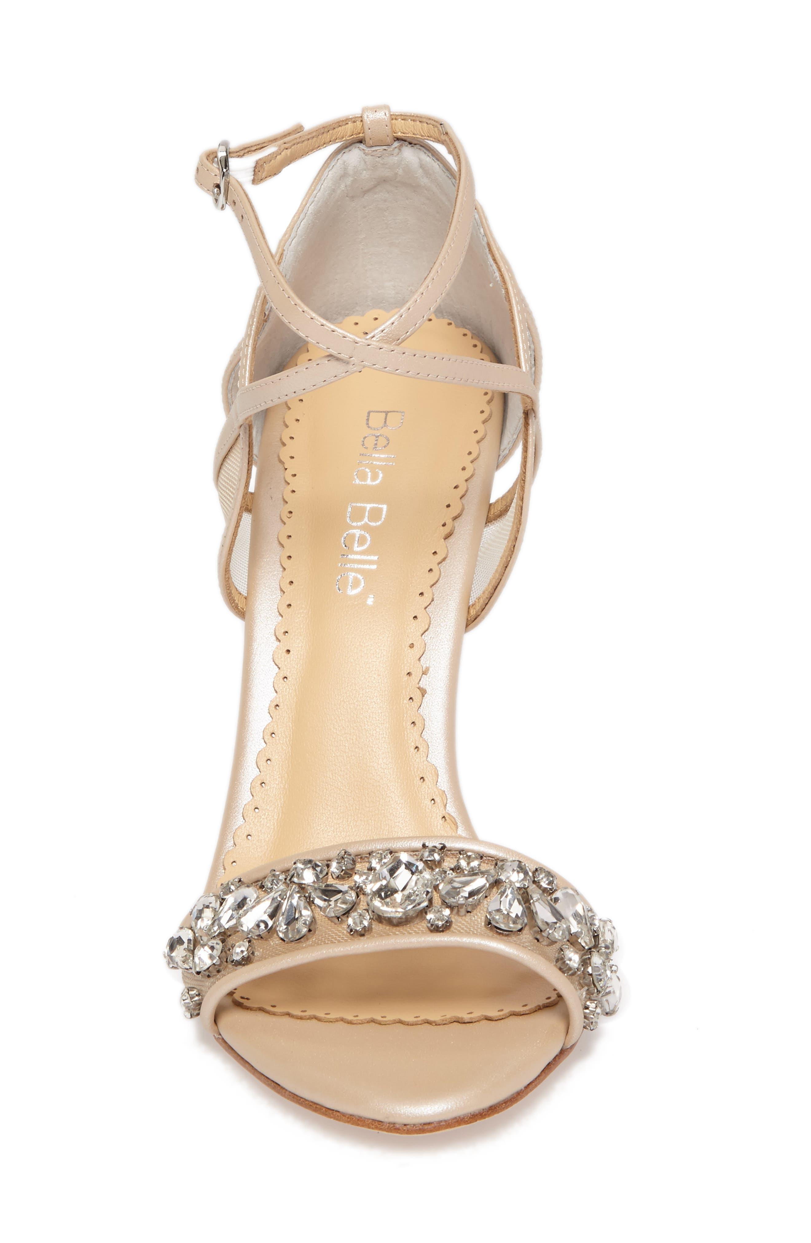 Filipa Embellished Ankle Strap Sandal,                             Alternate thumbnail 4, color,                             Nude Leather
