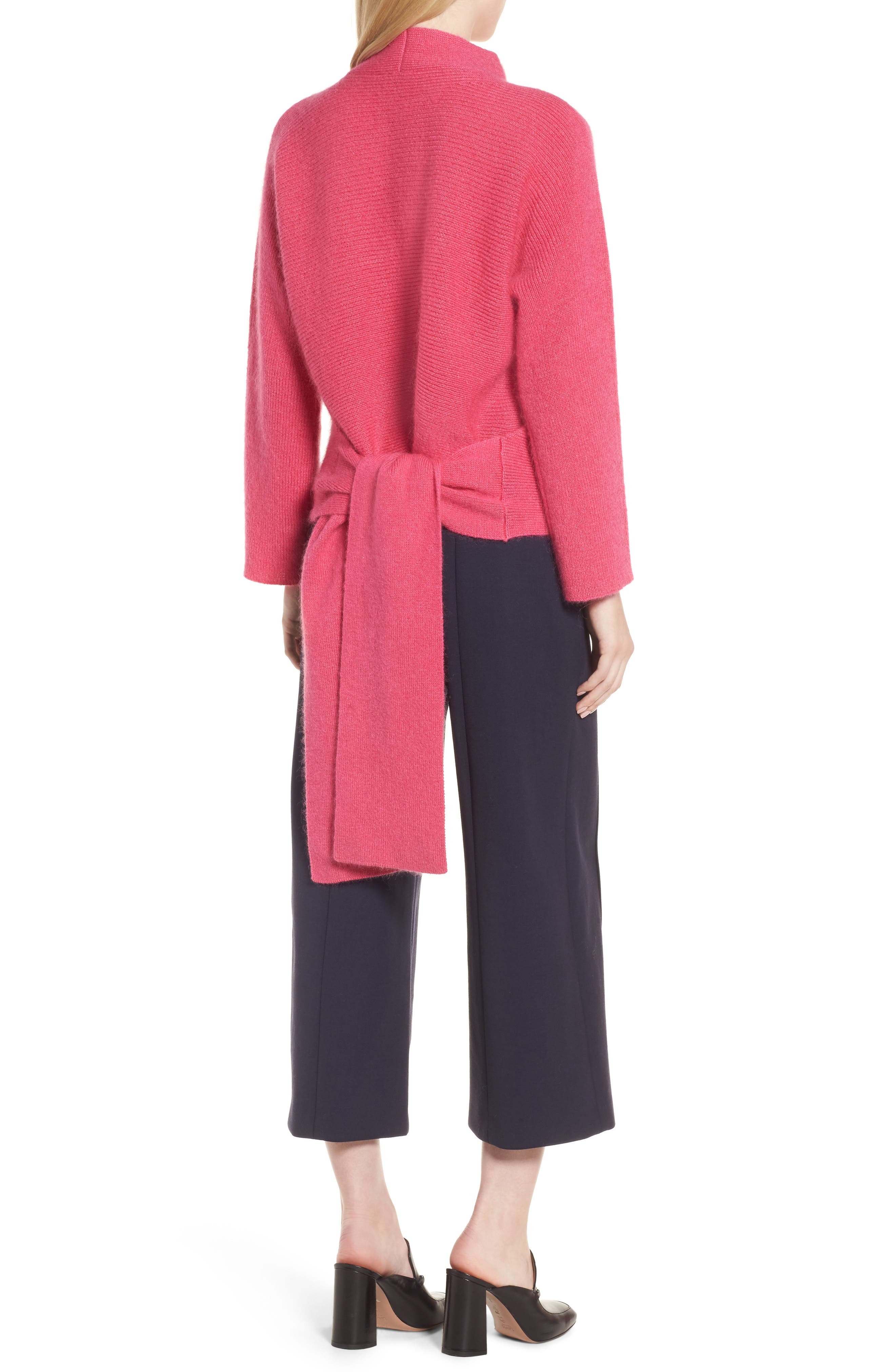 Tie Back Sweater,                             Alternate thumbnail 2, color,                             Pink Rouge
