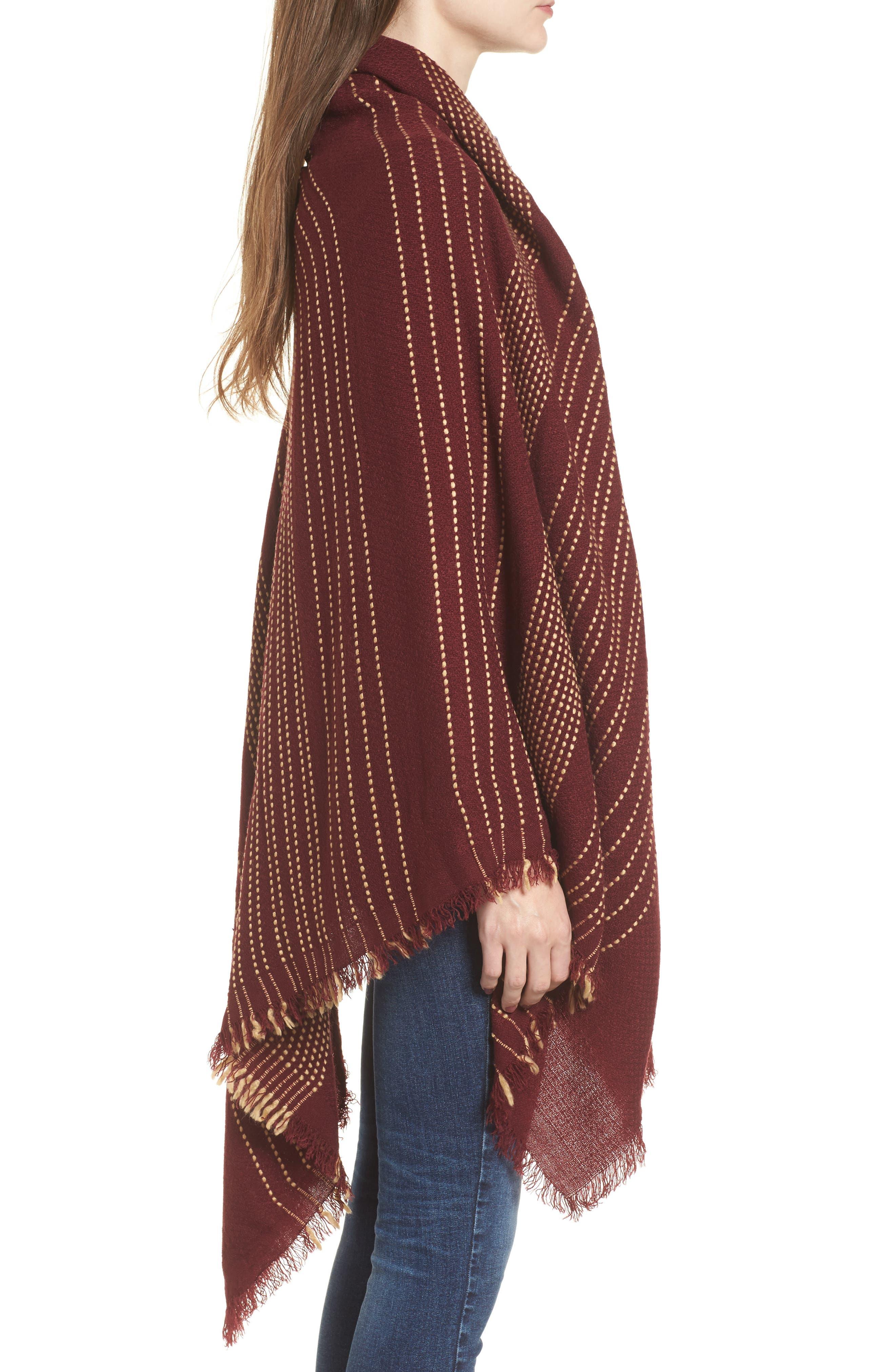 Textured Stripe Blanket Scarf,                             Alternate thumbnail 3, color,                             Wine