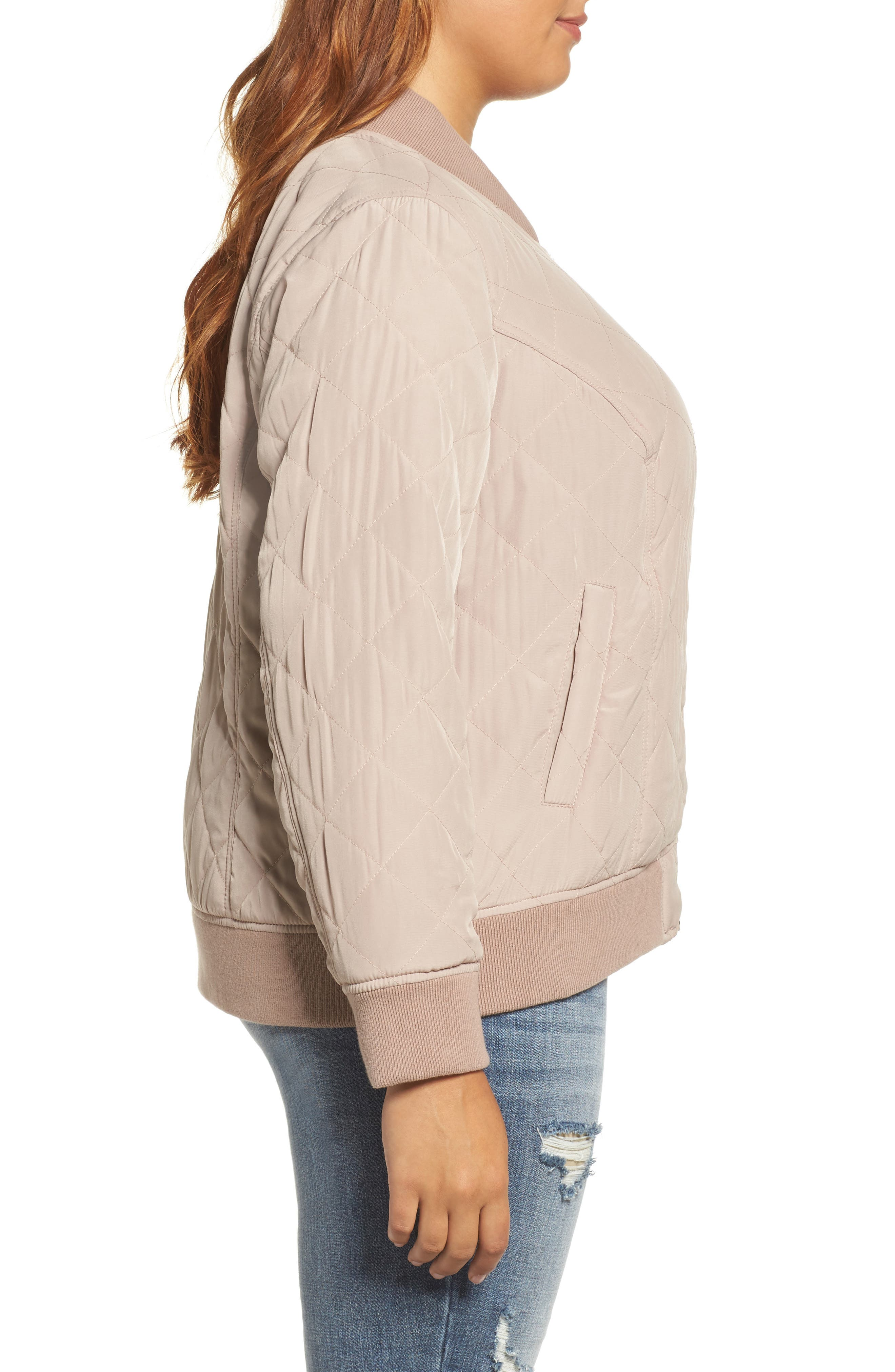 Alternate Image 3  - Lucky Brand Quilted Bomber Jacket (Plus Size)