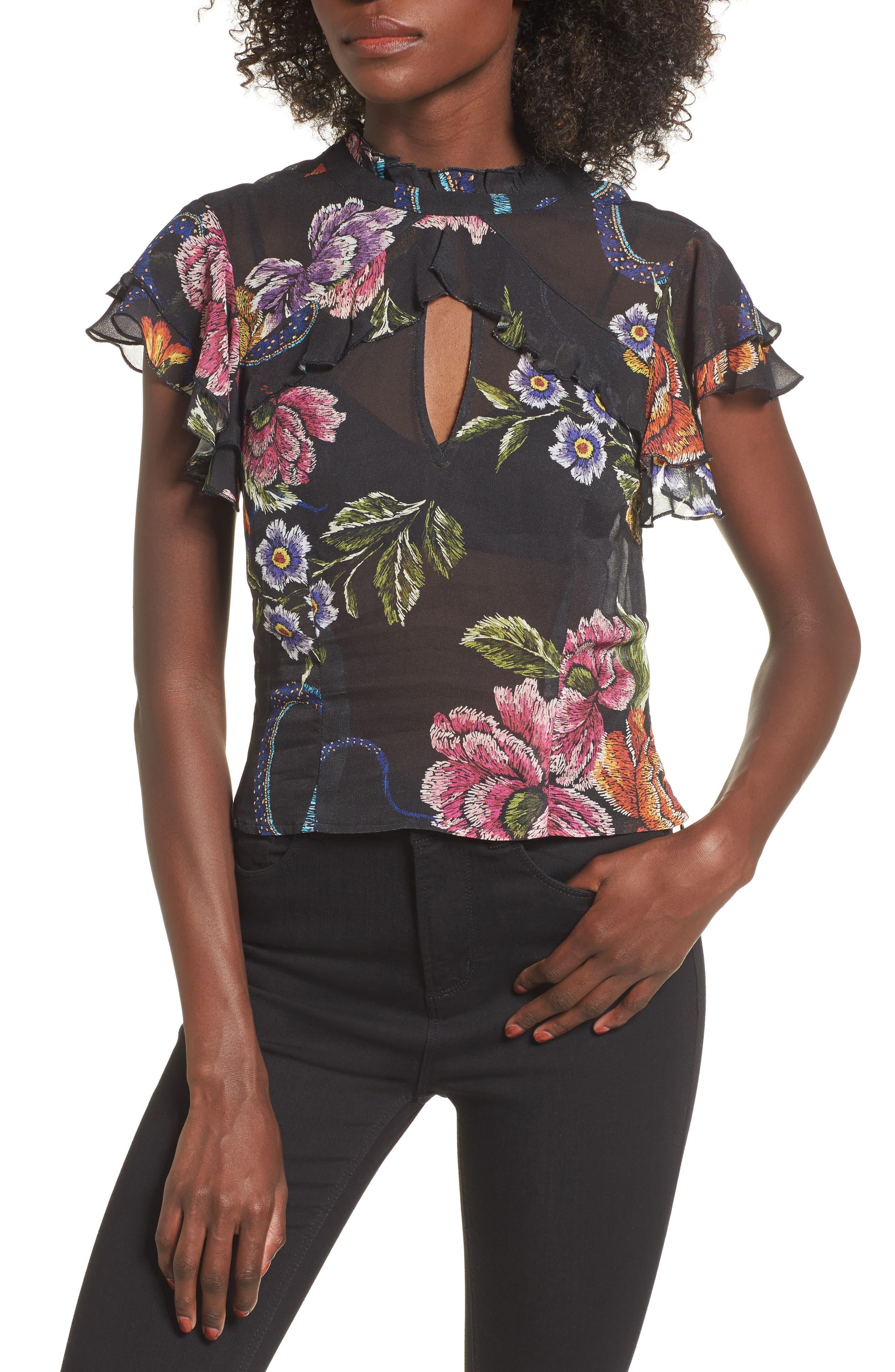 Gianna Ruffle Sleeve Top,                         Main,                         color, Snake Floral