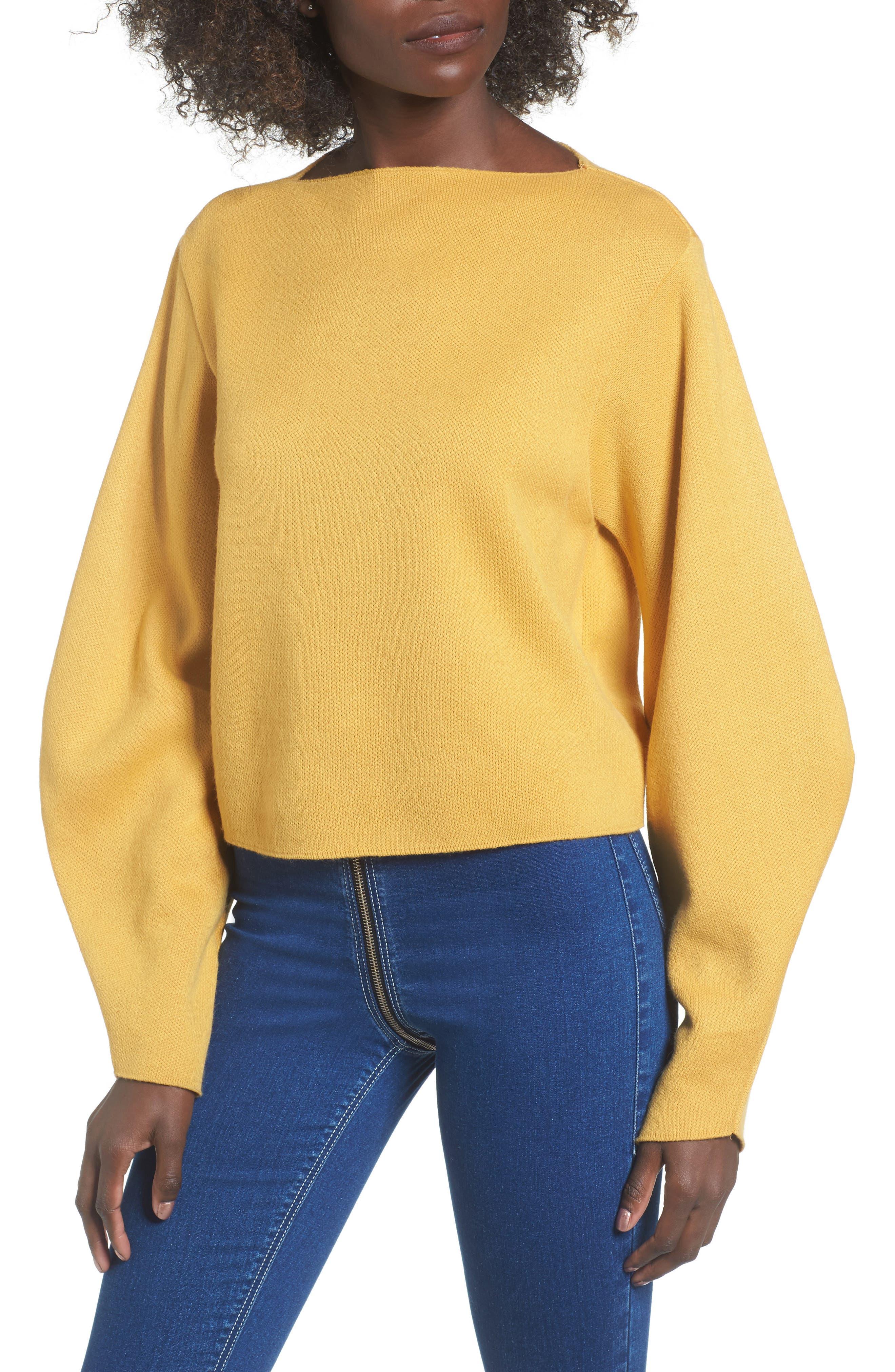 Balloon Sleeve Sweater,                         Main,                         color, Mustard