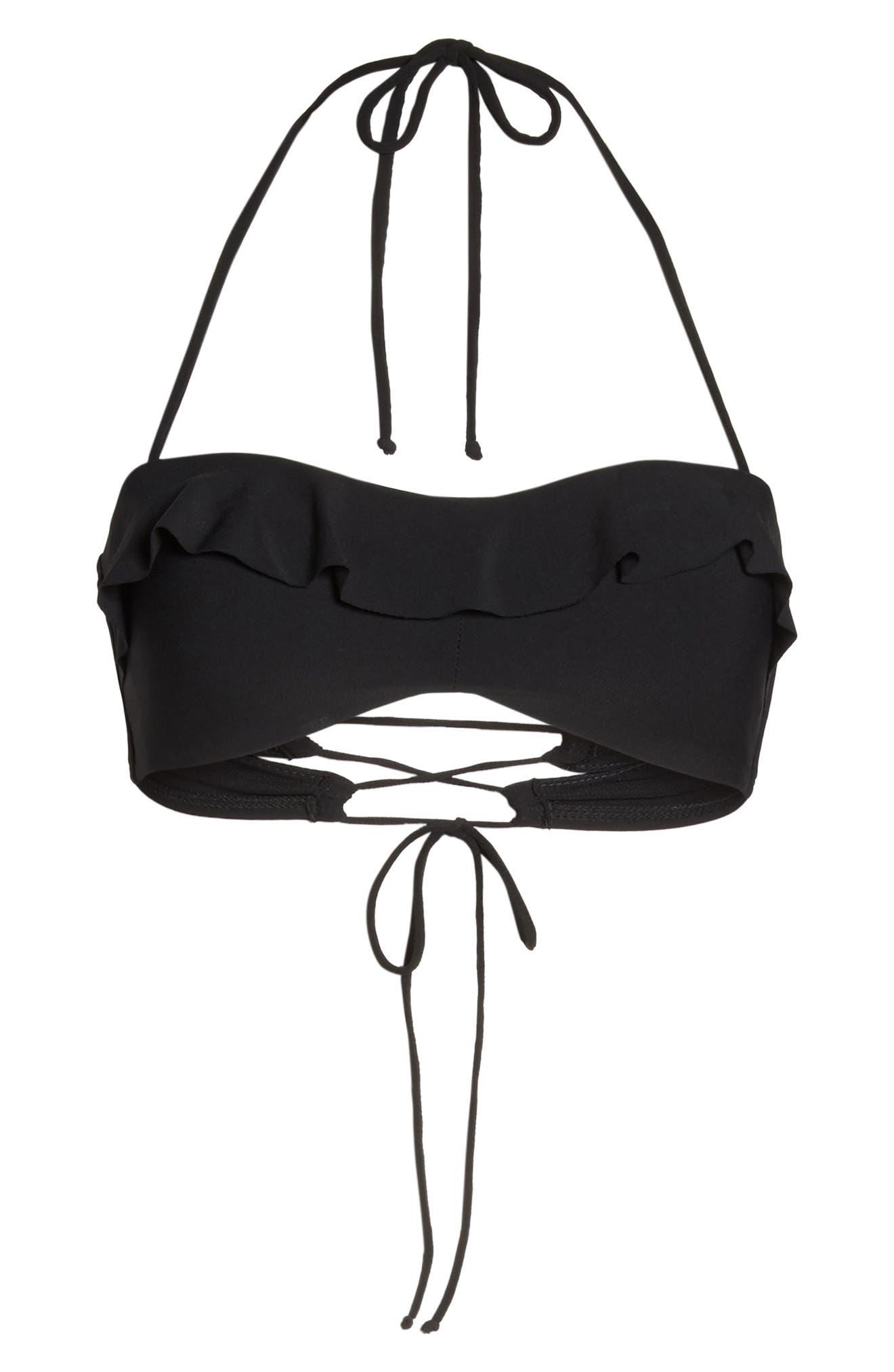 Lina Ruffle Bandeau Bikini Top,                             Alternate thumbnail 7, color,                             Black