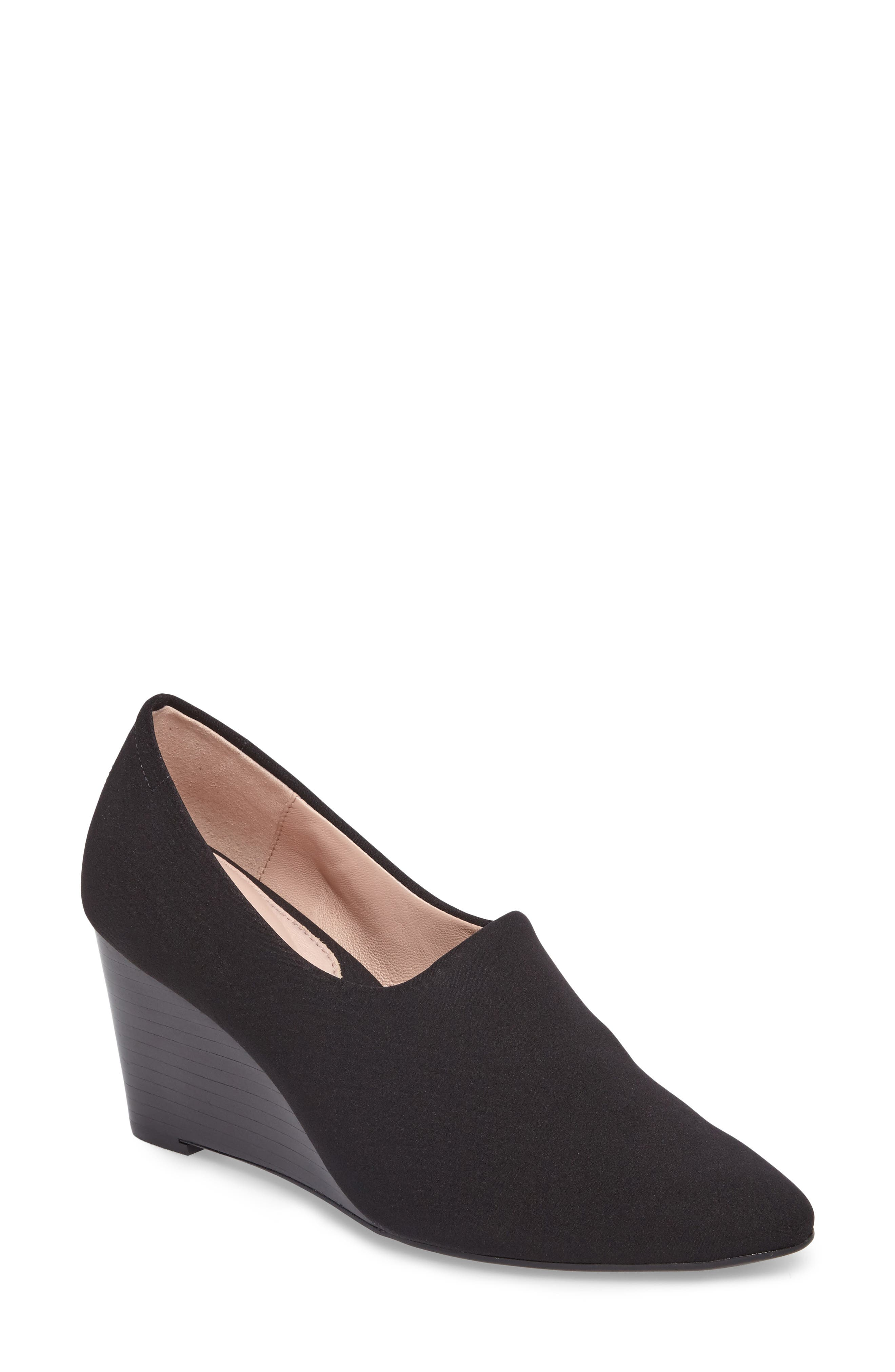 Yvonne Pointy Toe Wedge,                             Main thumbnail 1, color,                             Black Fabric