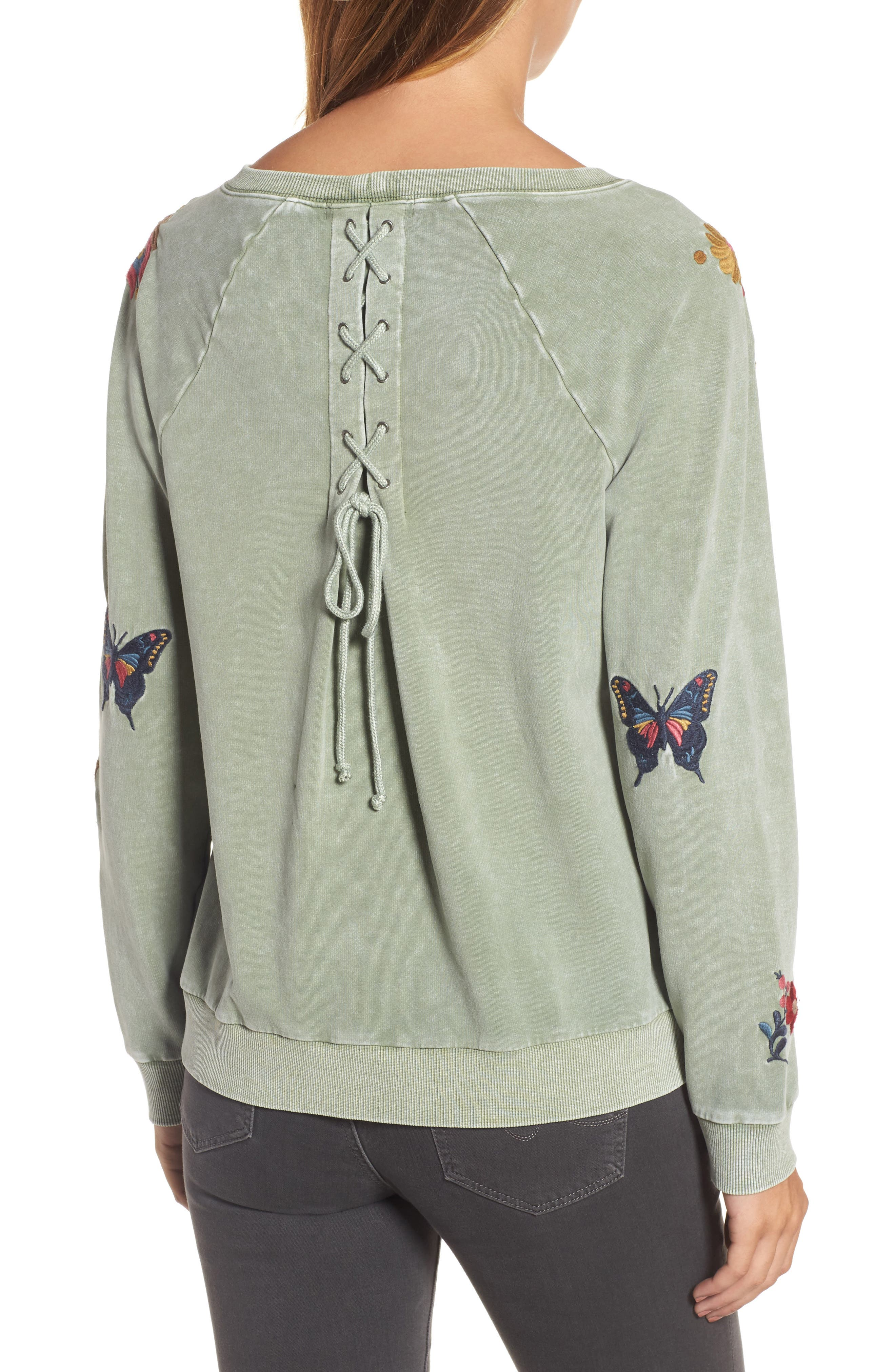 Embroidered Lace-Up Back Sweatshirt,                             Alternate thumbnail 2, color,                             Army