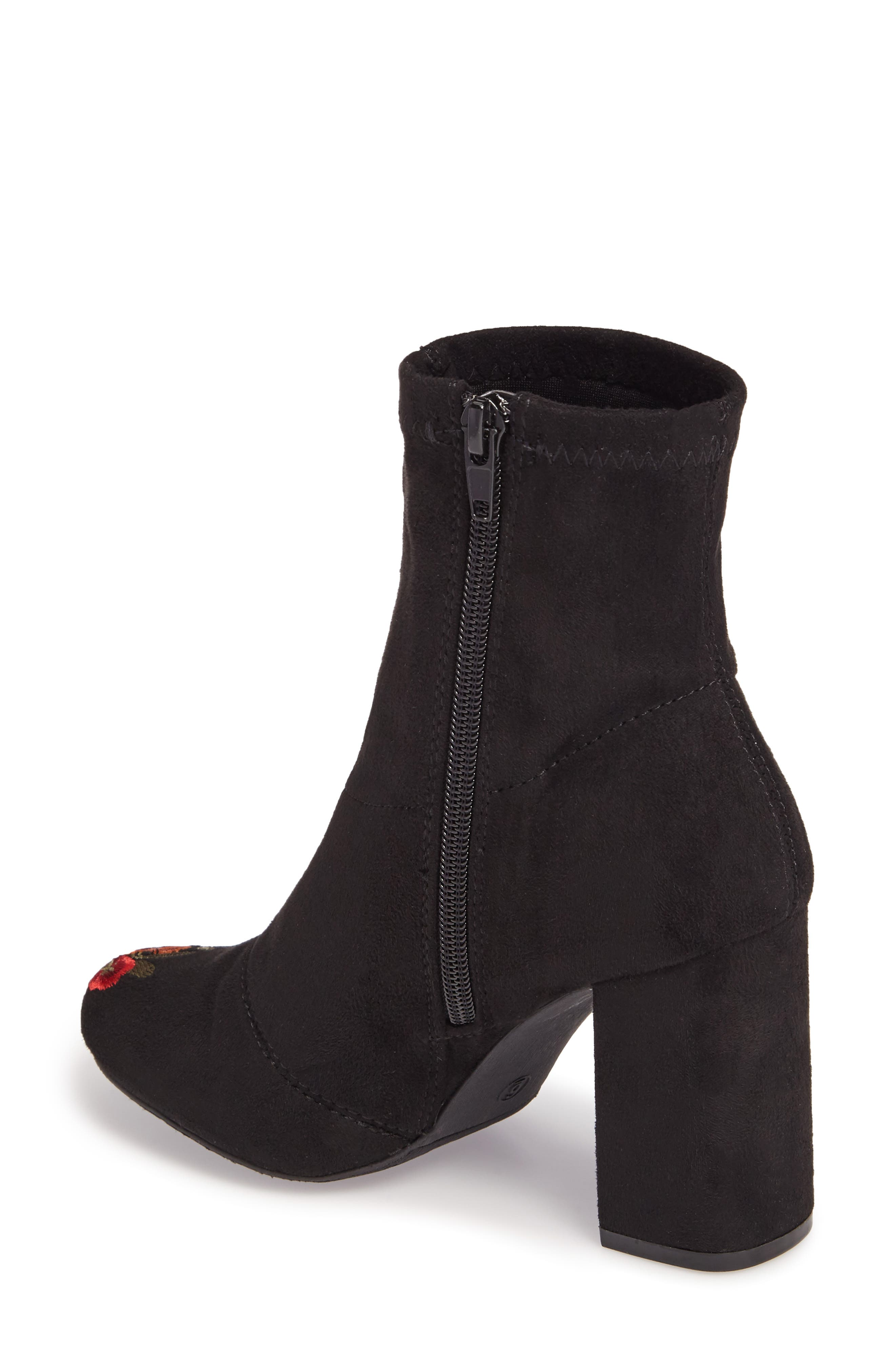 Monique Embroidered Sock Bootie,                             Alternate thumbnail 2, color,                             Black