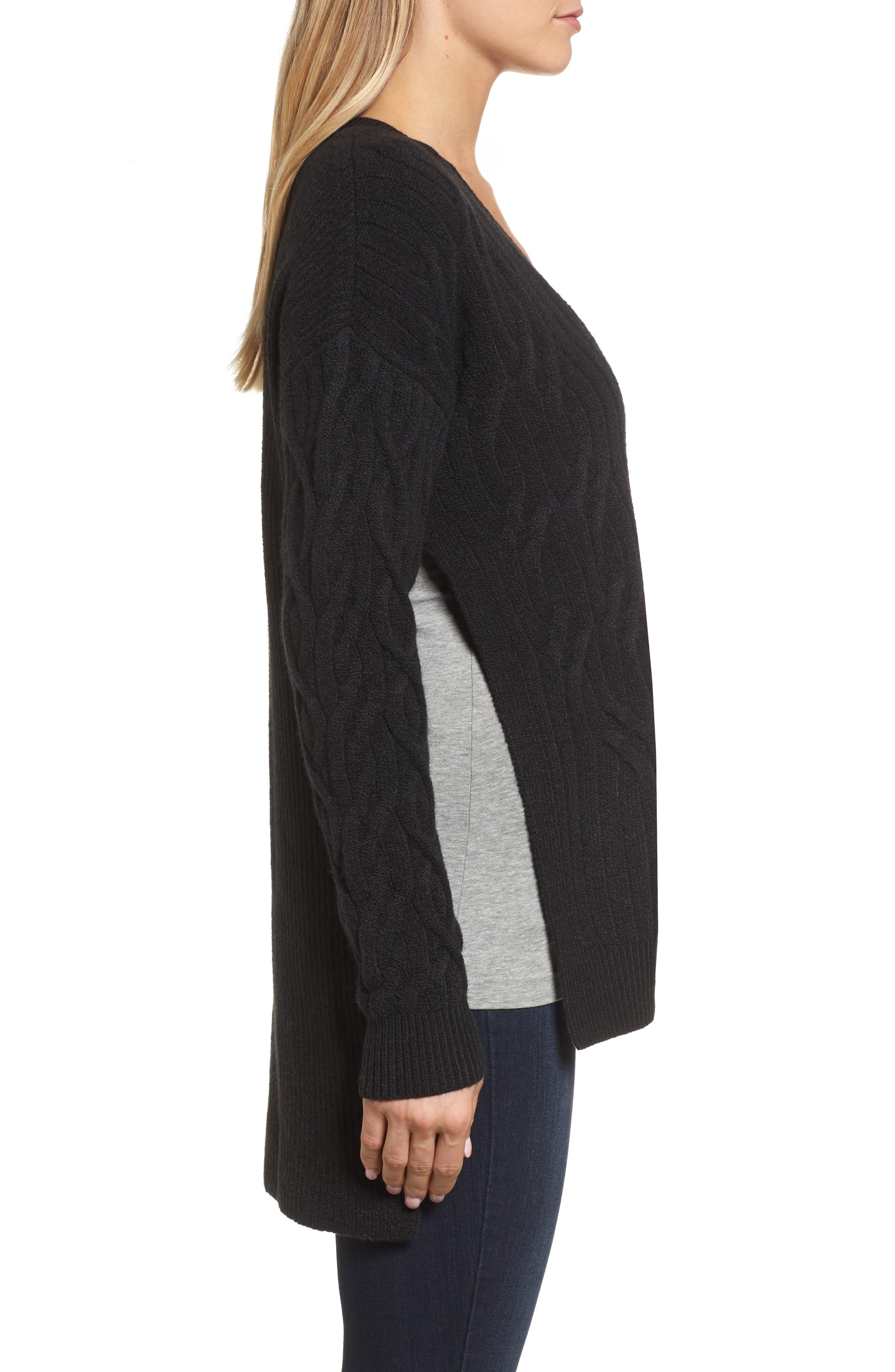 Irregular Cable Knit Sweater,                             Alternate thumbnail 3, color,                             Black