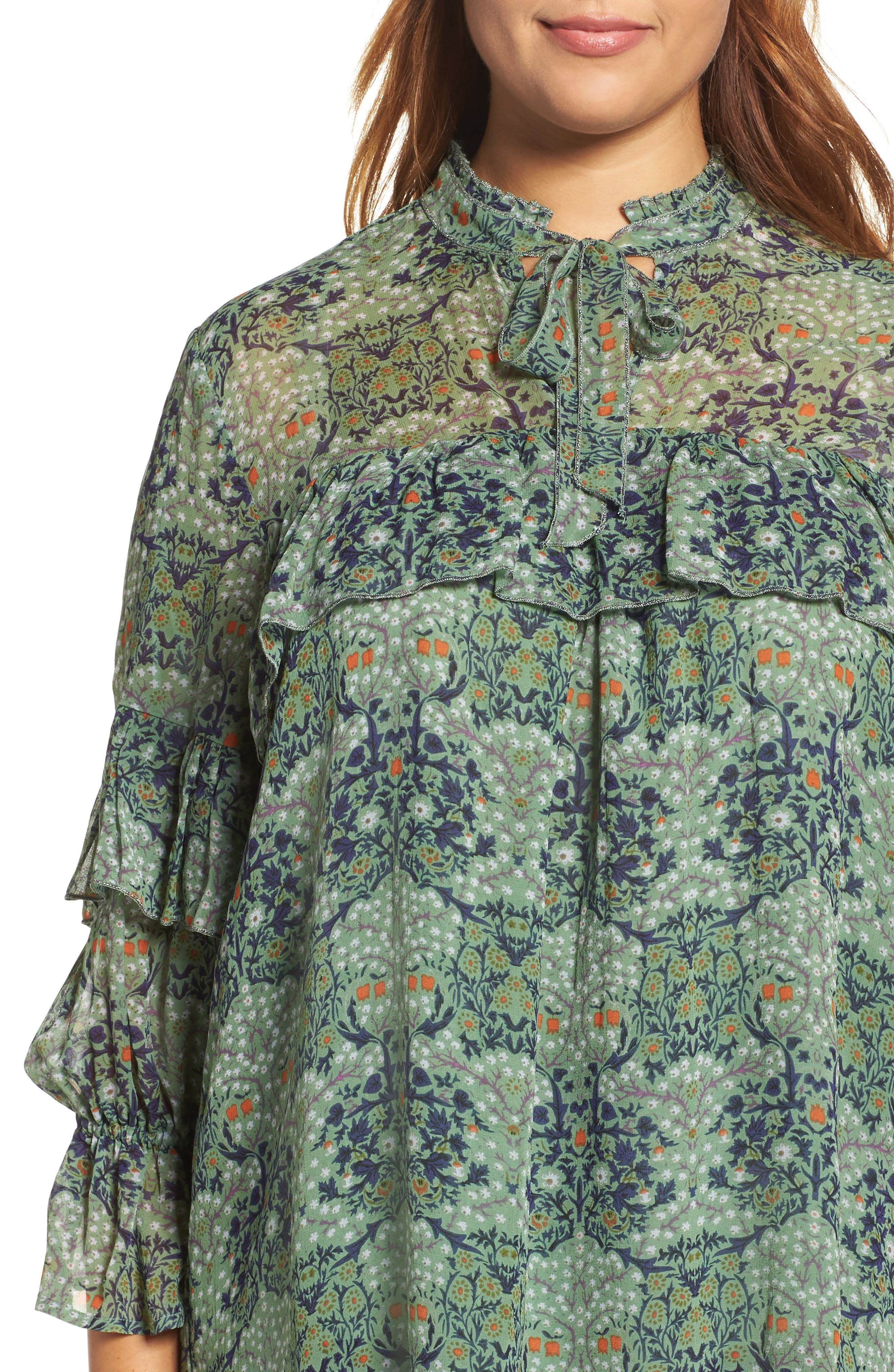 Ruffled Floral Blouse,                             Alternate thumbnail 4, color,                             Green Multi