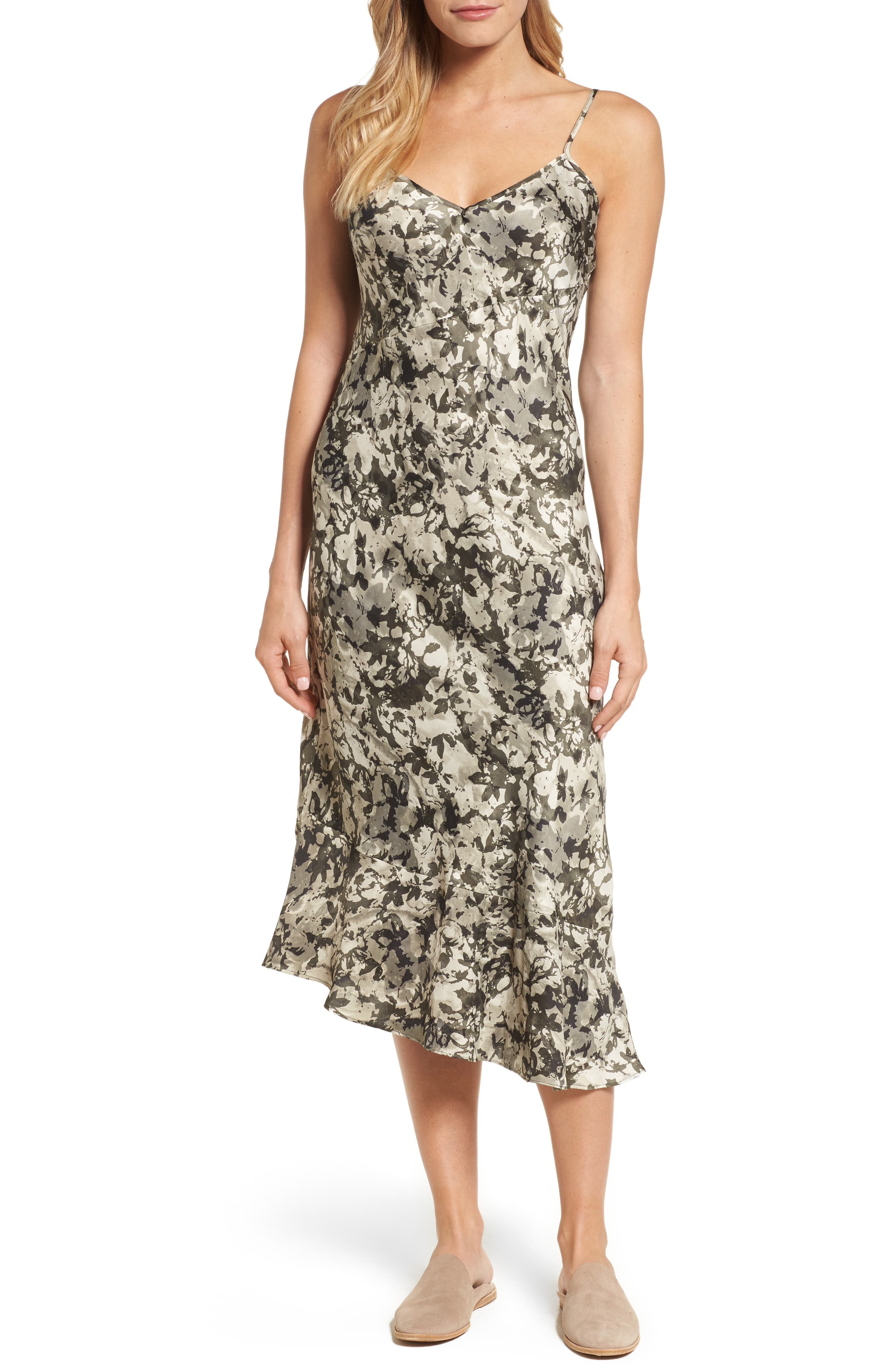 Camisole Midi Dress,                         Main,                         color, Camofoliage-Muslin