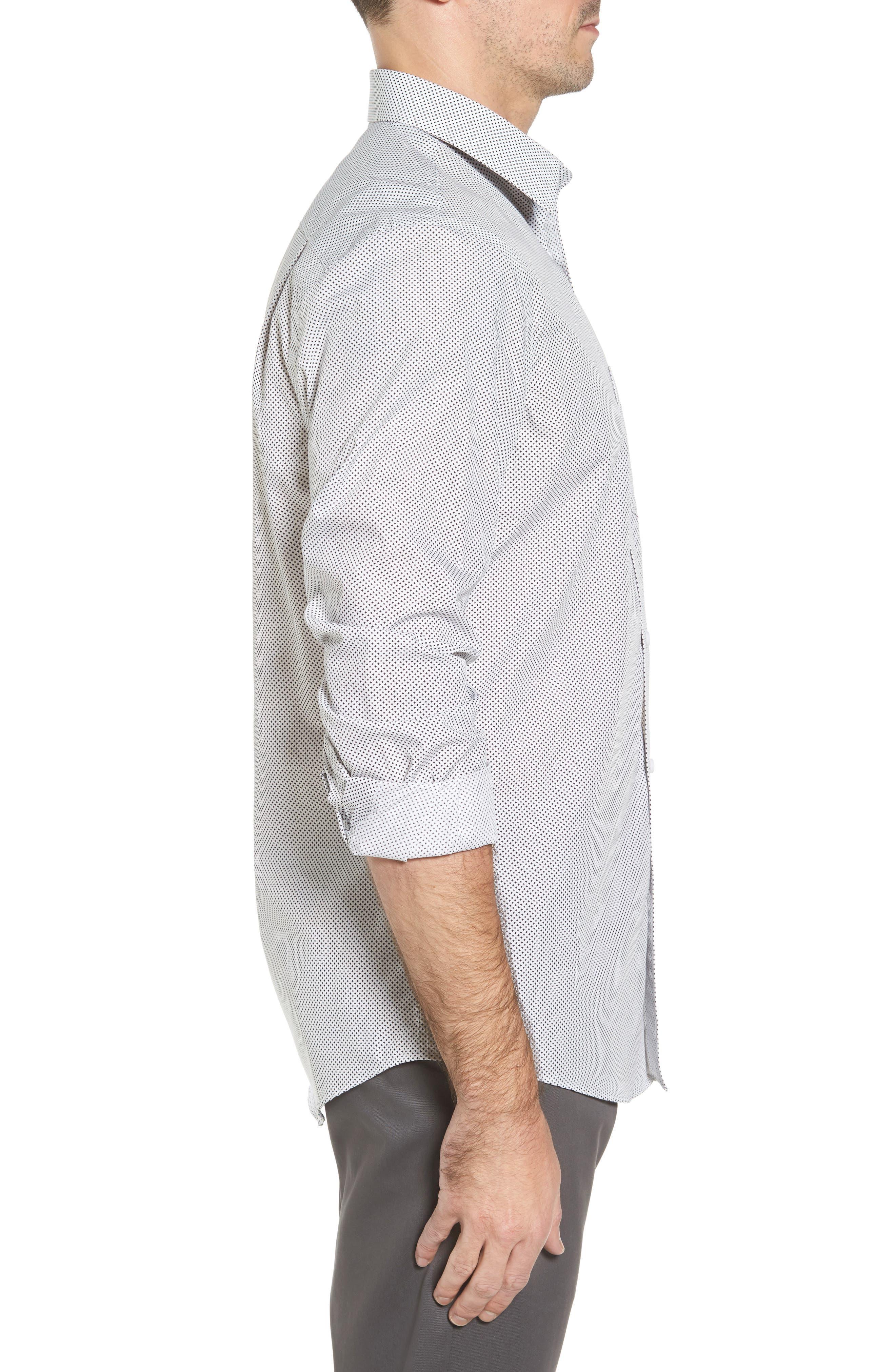 Regular Fit Non-Iron Print Sport Shirt,                             Alternate thumbnail 3, color,                             Black White Mini Cross