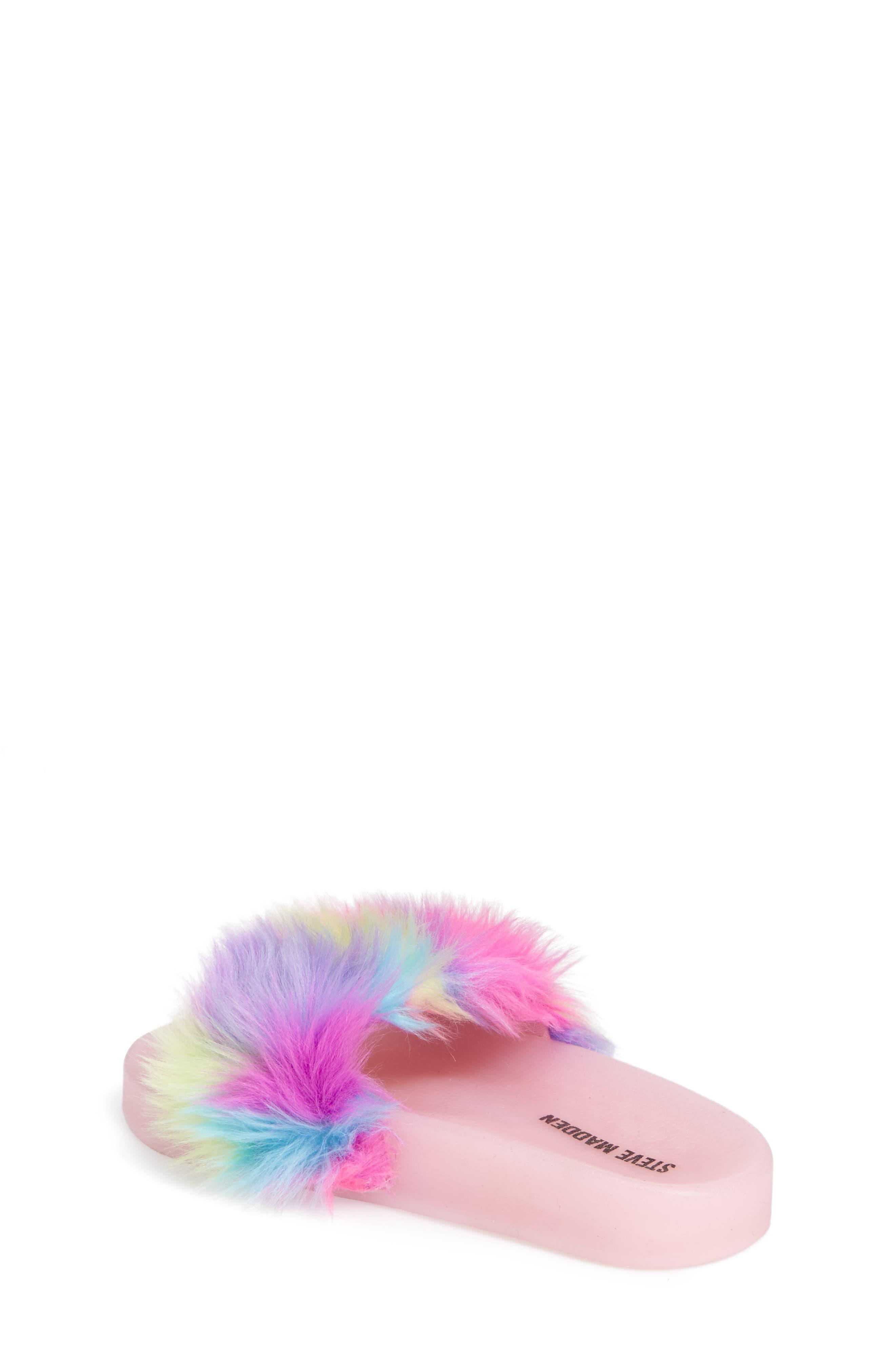 Jlights Faux Fur Light-Up Slide Sandal,                             Alternate thumbnail 2, color,                             Multi