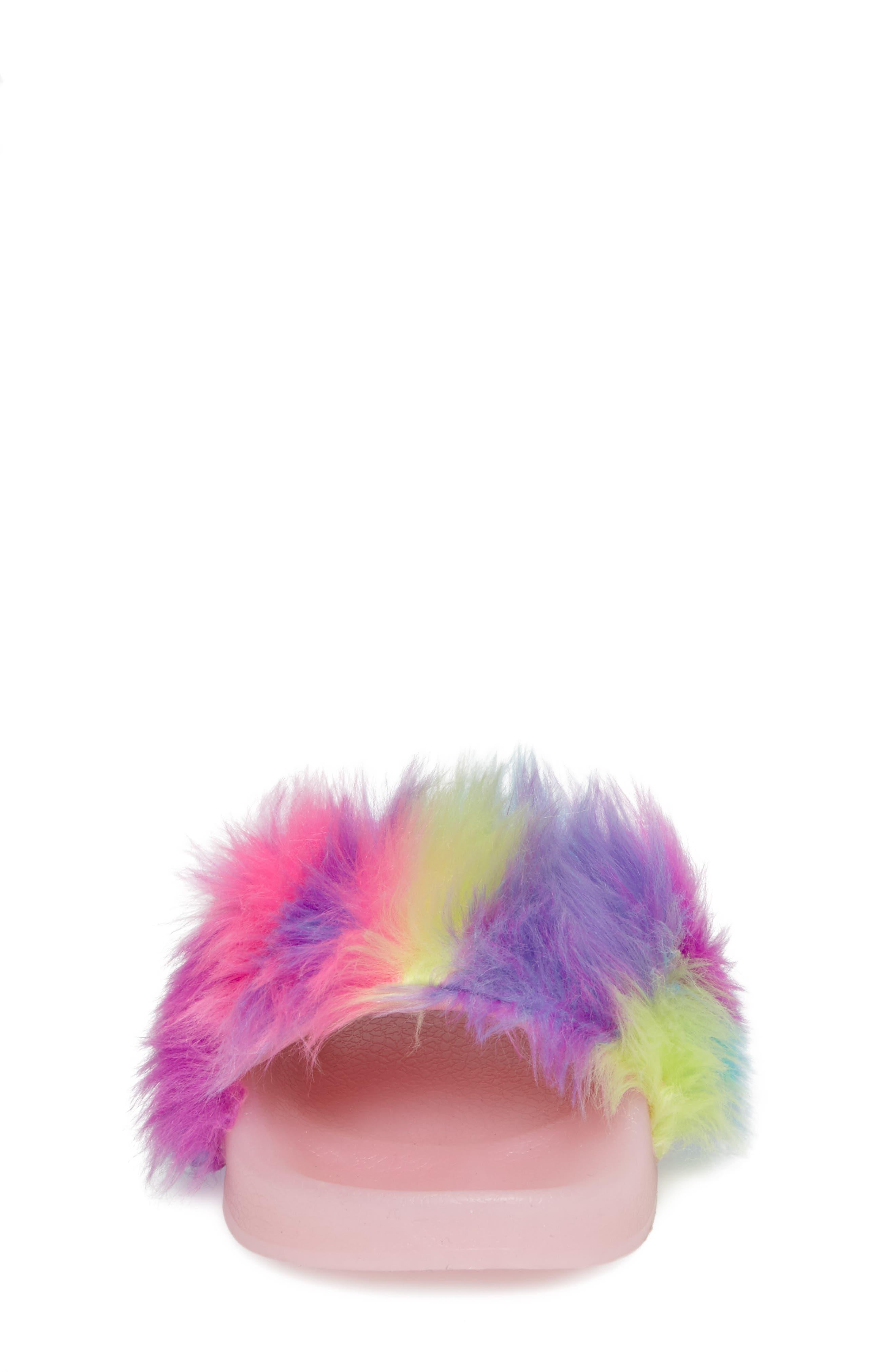 Jlights Faux Fur Light-Up Slide Sandal,                             Alternate thumbnail 4, color,                             Multi