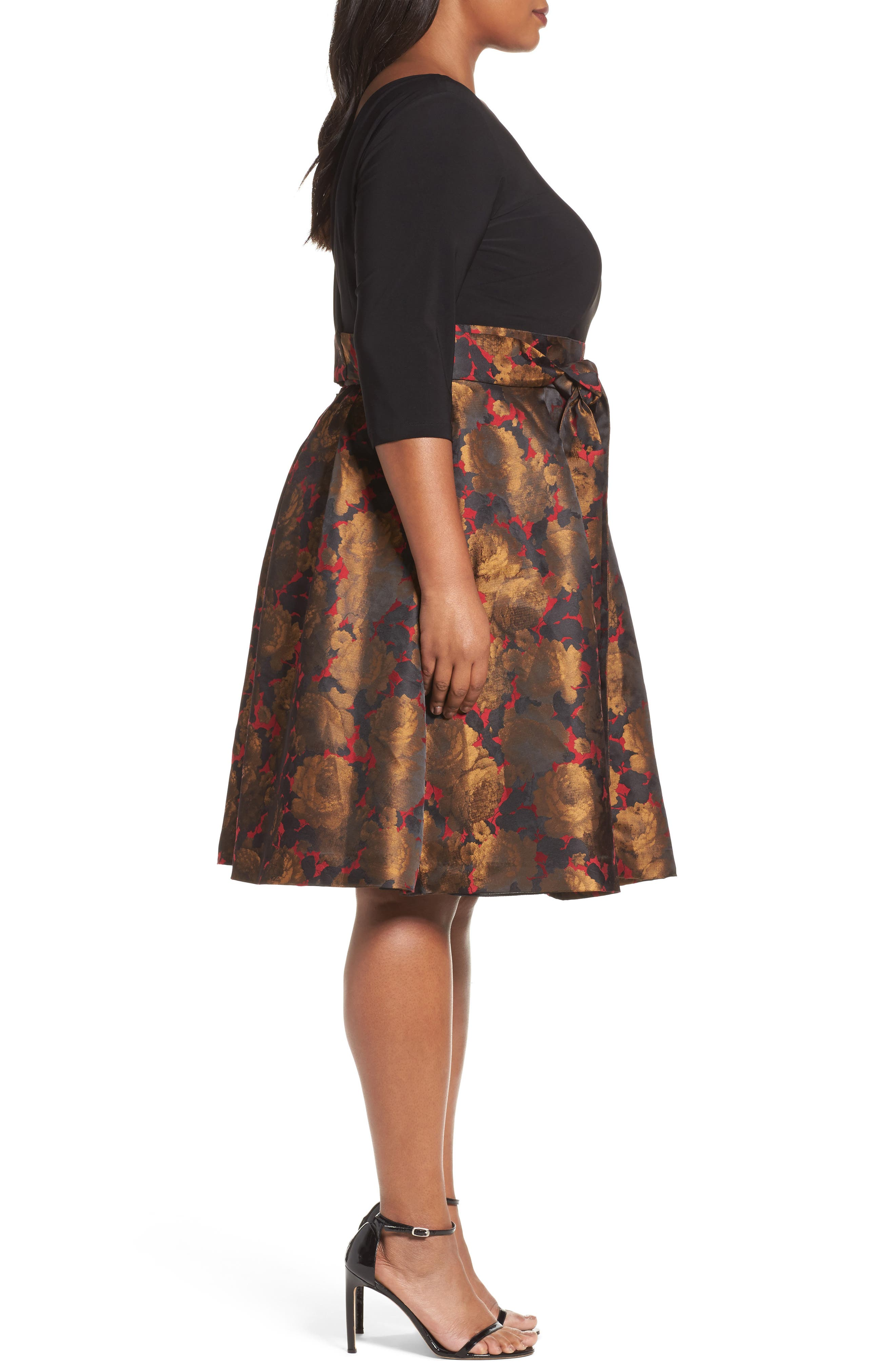 Mixed Media Fit & Flare Dress,                             Alternate thumbnail 3, color,                             Red/ Gold