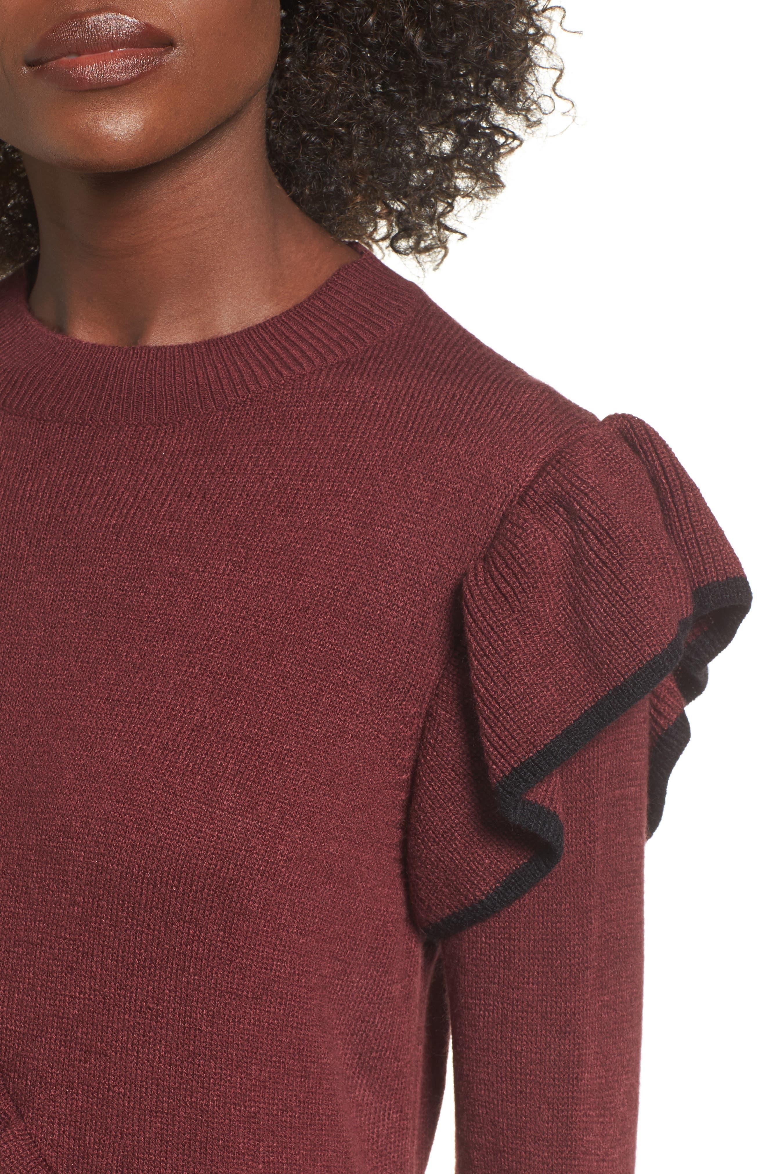 Ruffle Knit Sweater Dress,                             Alternate thumbnail 4, color,                             Burgundy Royale