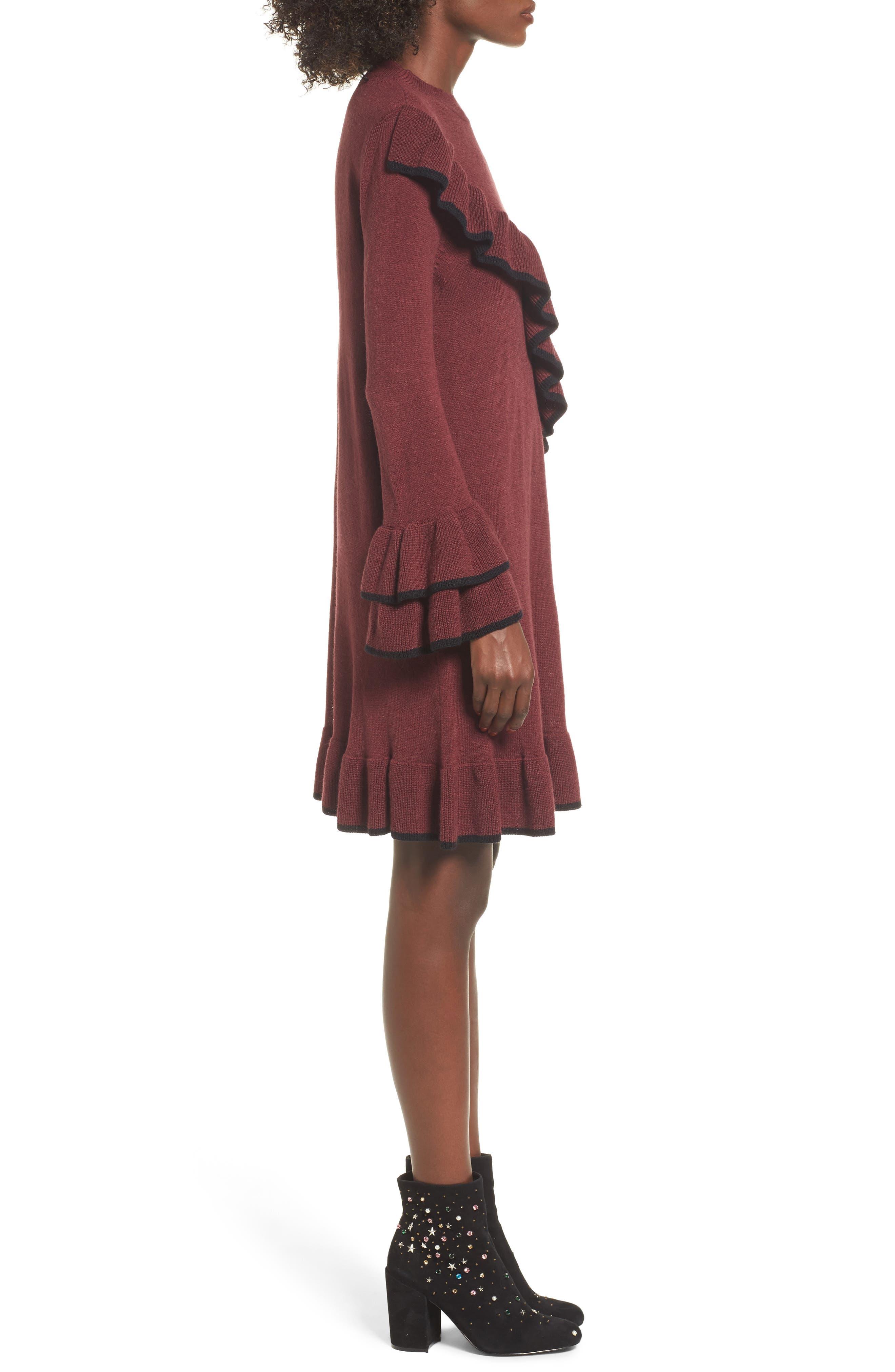 Ruffle Knit Sweater Dress,                             Alternate thumbnail 3, color,                             Burgundy Royale