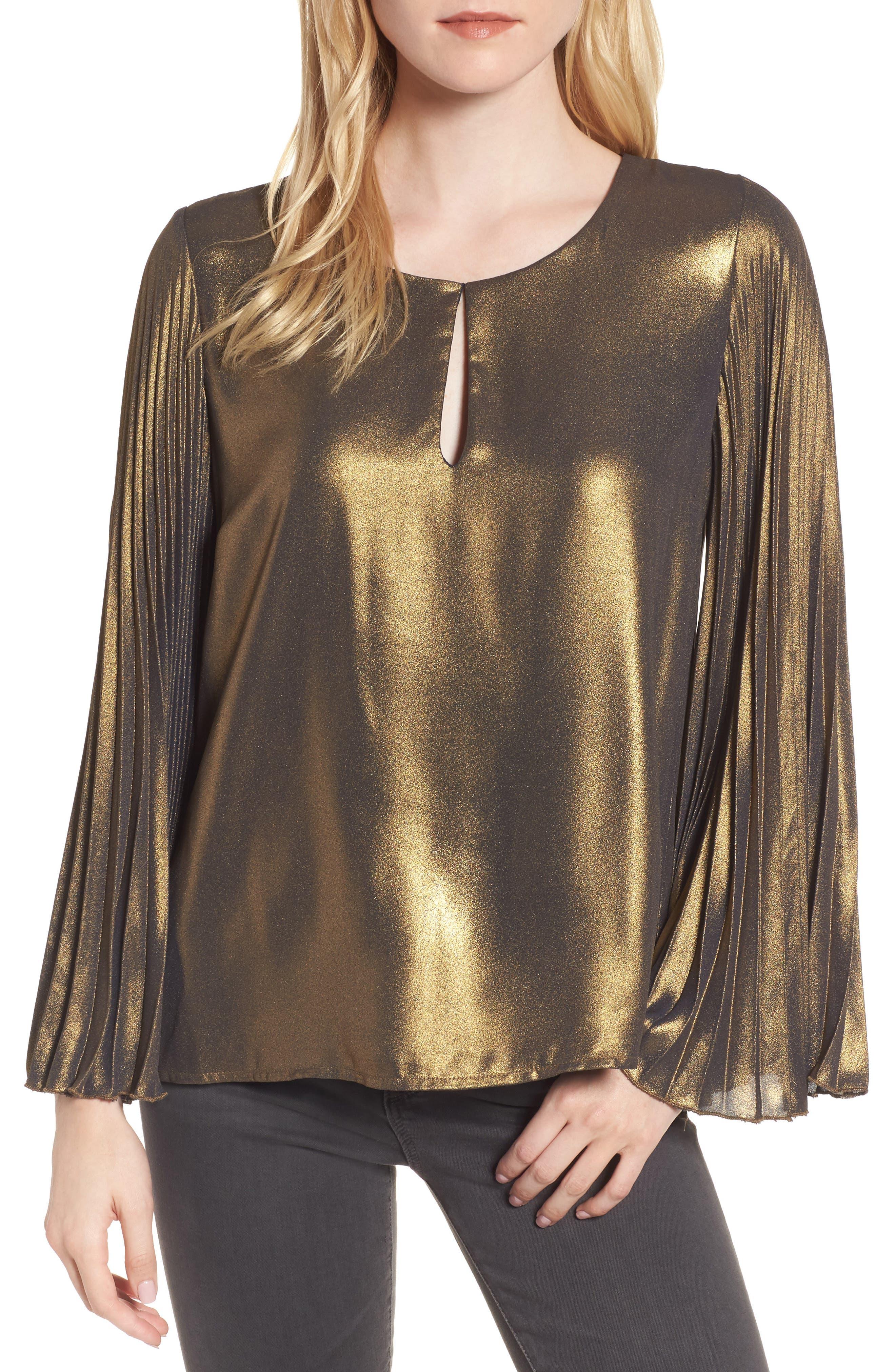 Bardot Pleat Sleeve Metallic Top