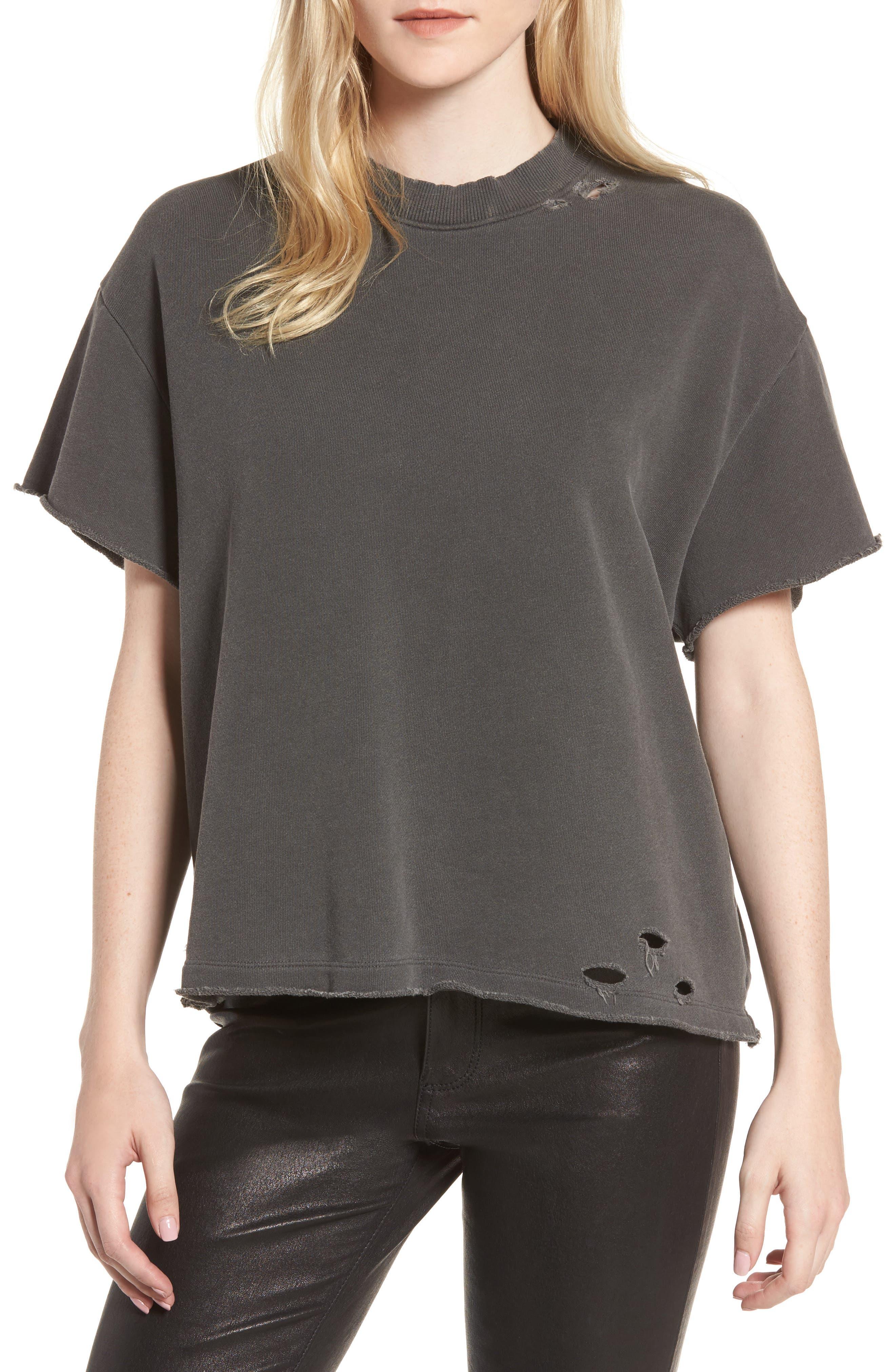 Diana Distressed Sweatshirt,                         Main,                         color, Pigment True Black
