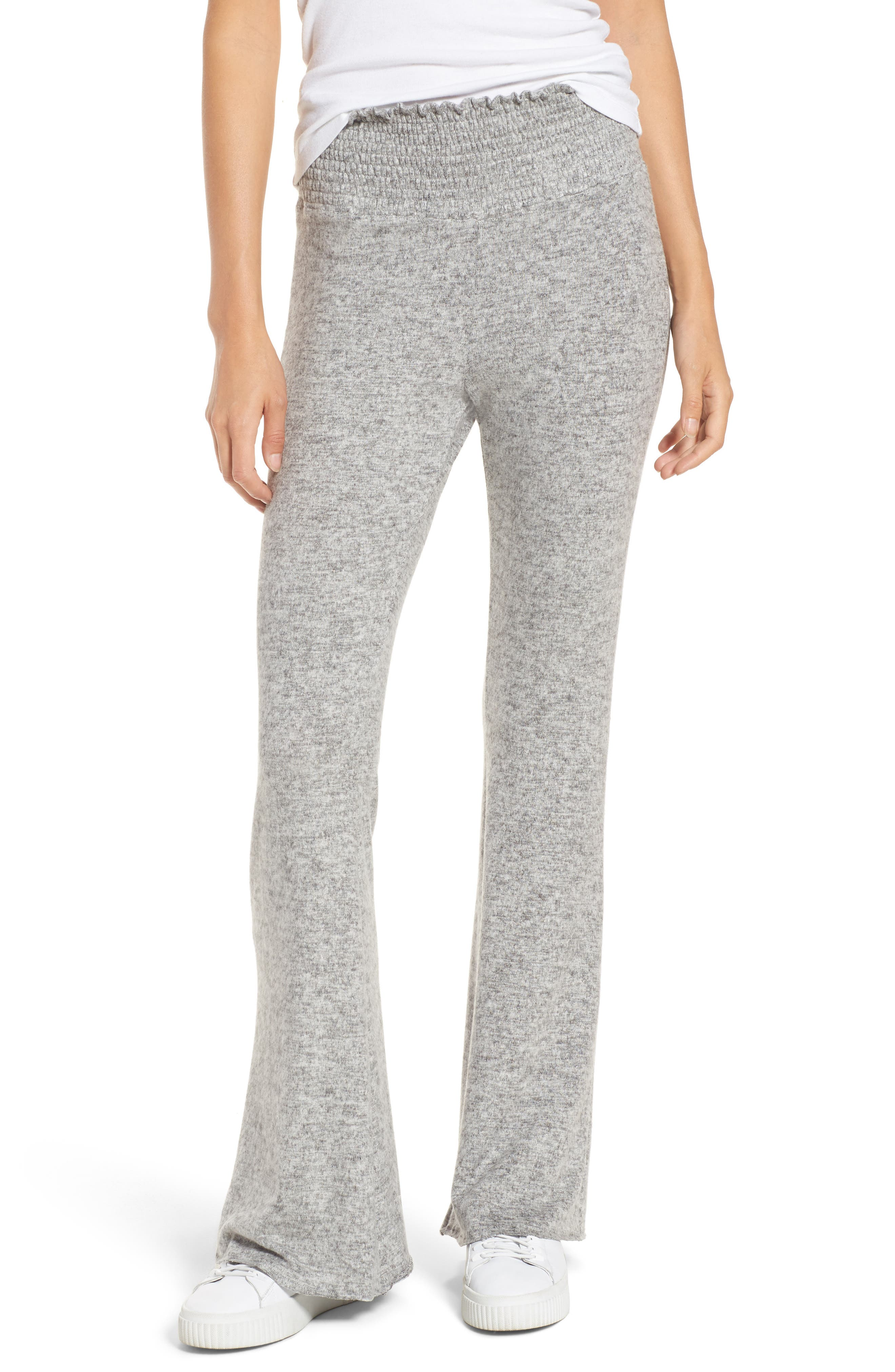 Smocked Waist Flare Leg Sweatpants,                         Main,                         color, Grey Heather