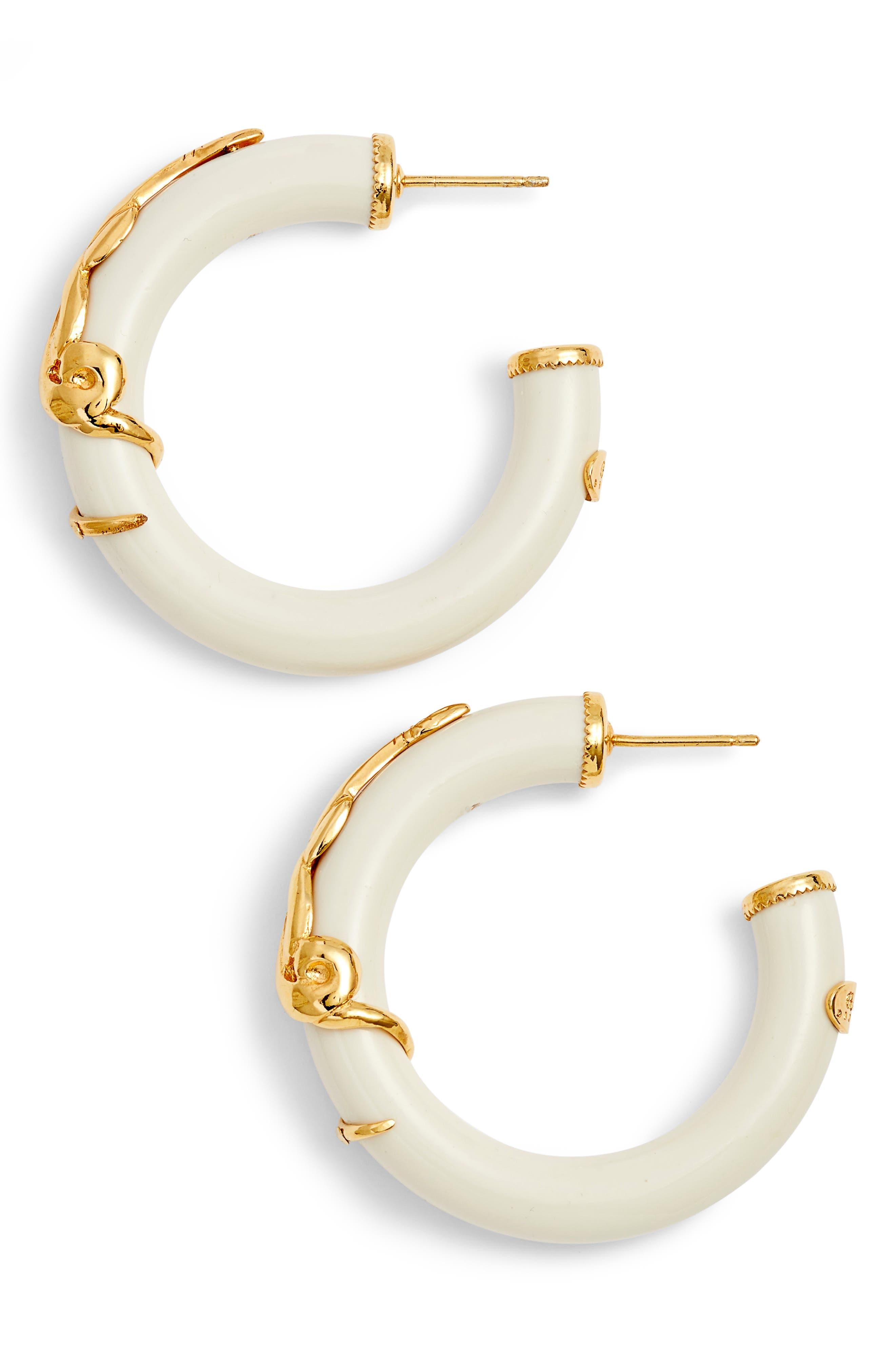 Cobra Hoop Earrings,                         Main,                         color, White/ Gold