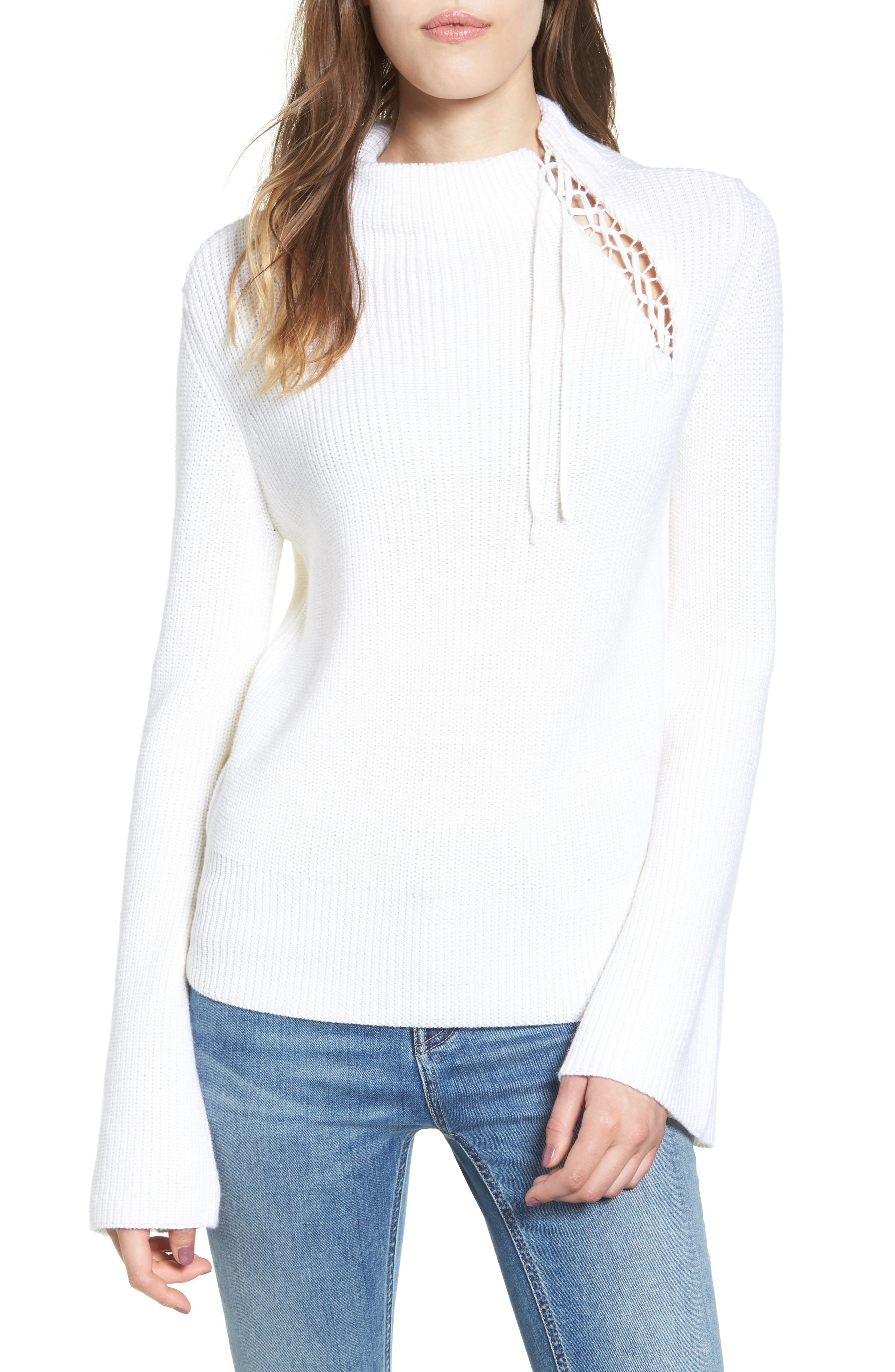Gracey Mock Neck Sweater,                             Main thumbnail 1, color,                             Natural