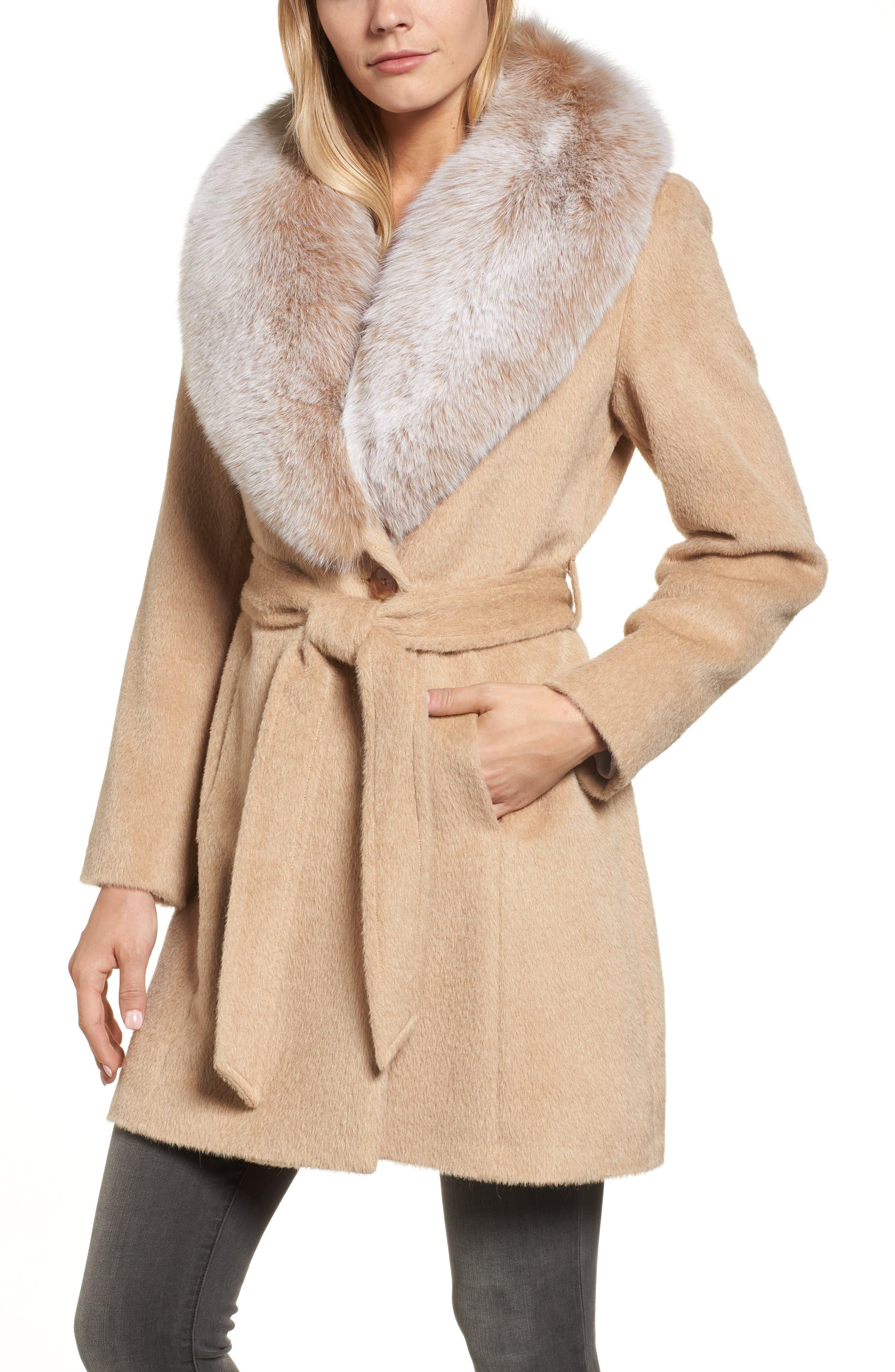 Genuine Fox Fur Lapel Wrap Coat,                         Main,                         color, Blonde/ Frosted Fox