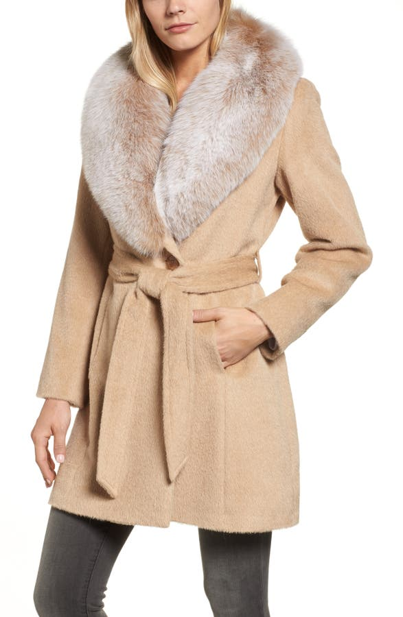 Sofia Cashmere Genuine Fox Fur Lapel Wrap Coat | Nordstrom
