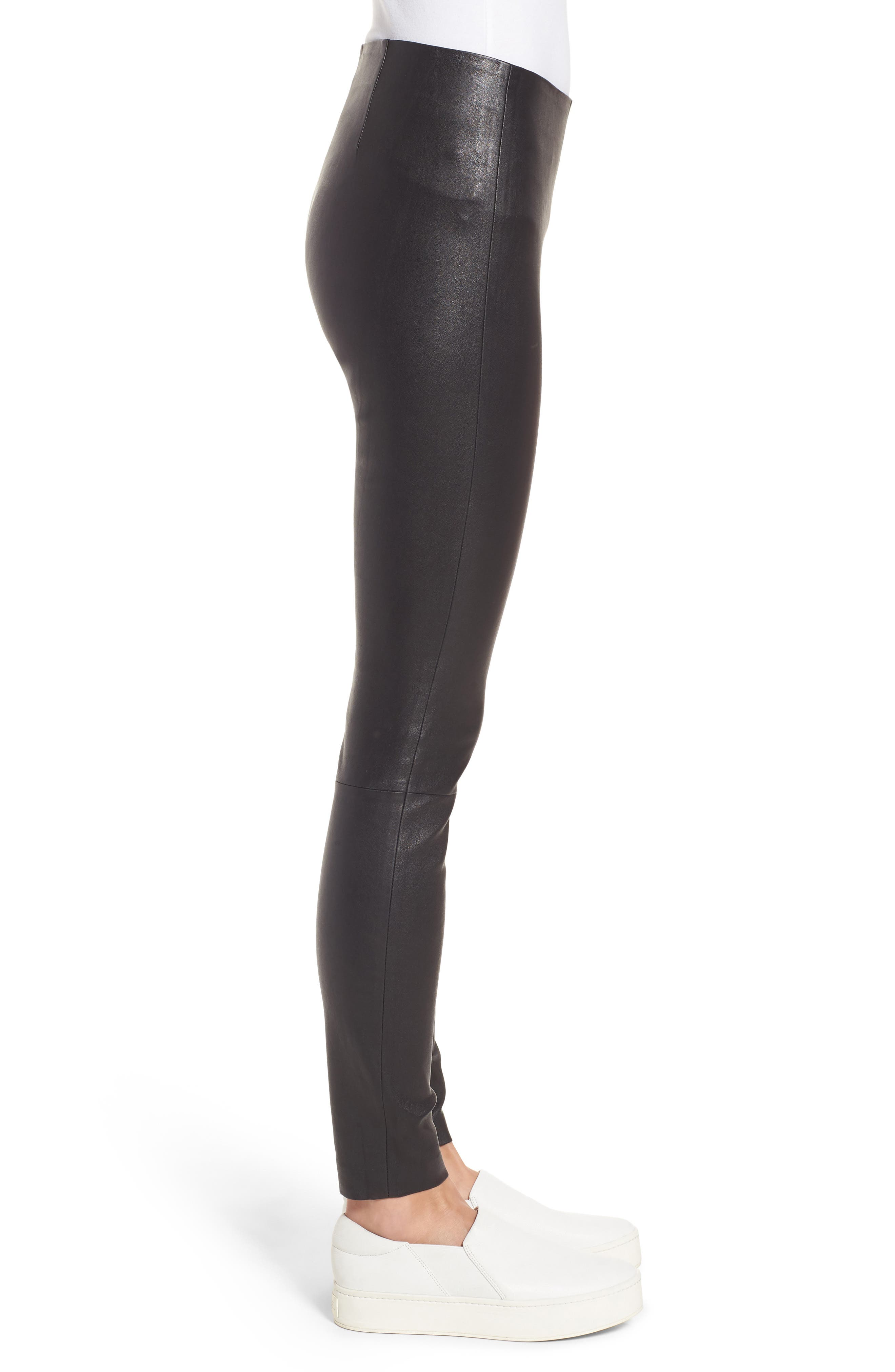 Stretch Leather Leggings,                             Alternate thumbnail 4, color,                             Black