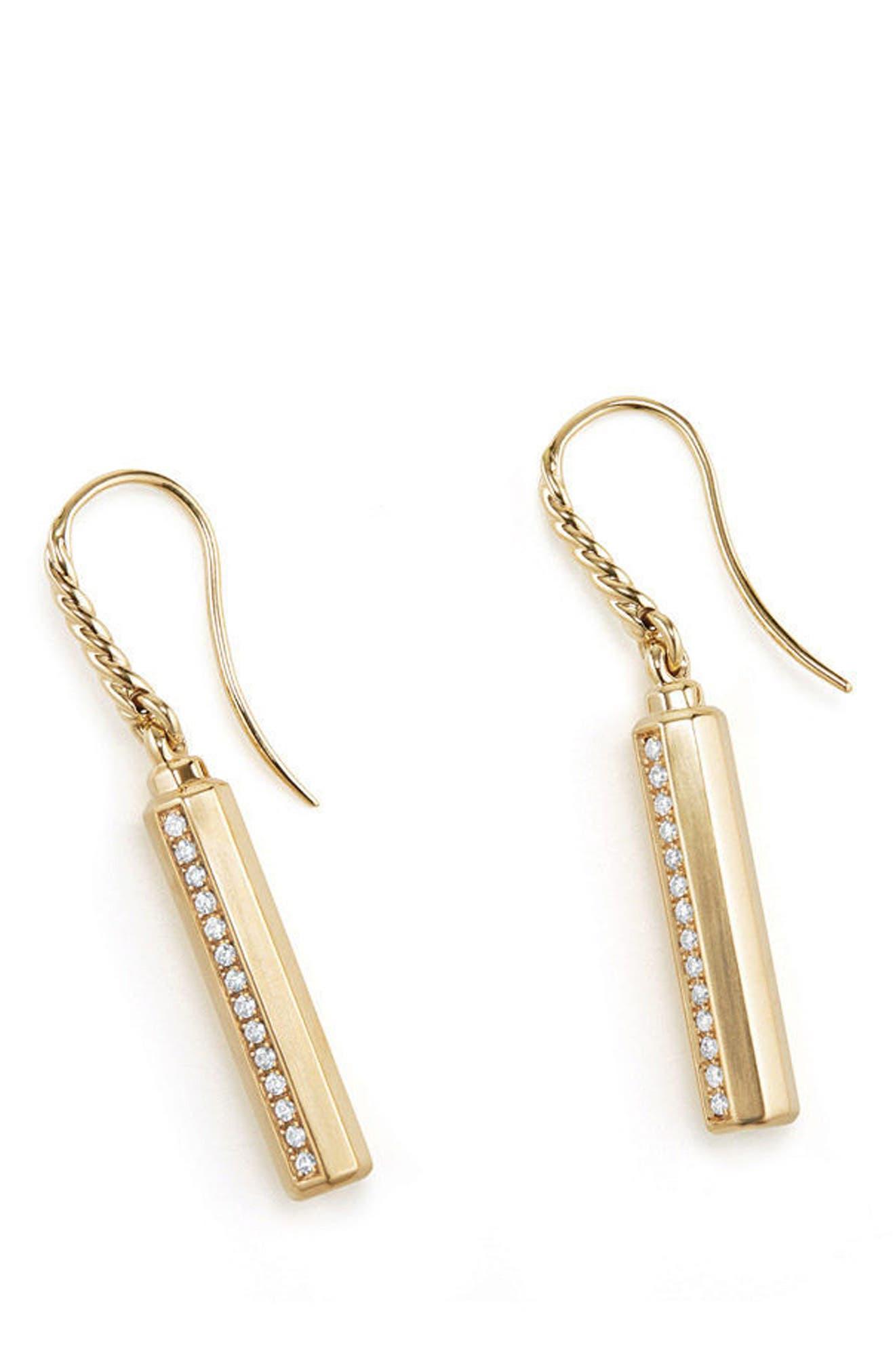 david yurman barrels drop earrings with diamonds in 18k gold