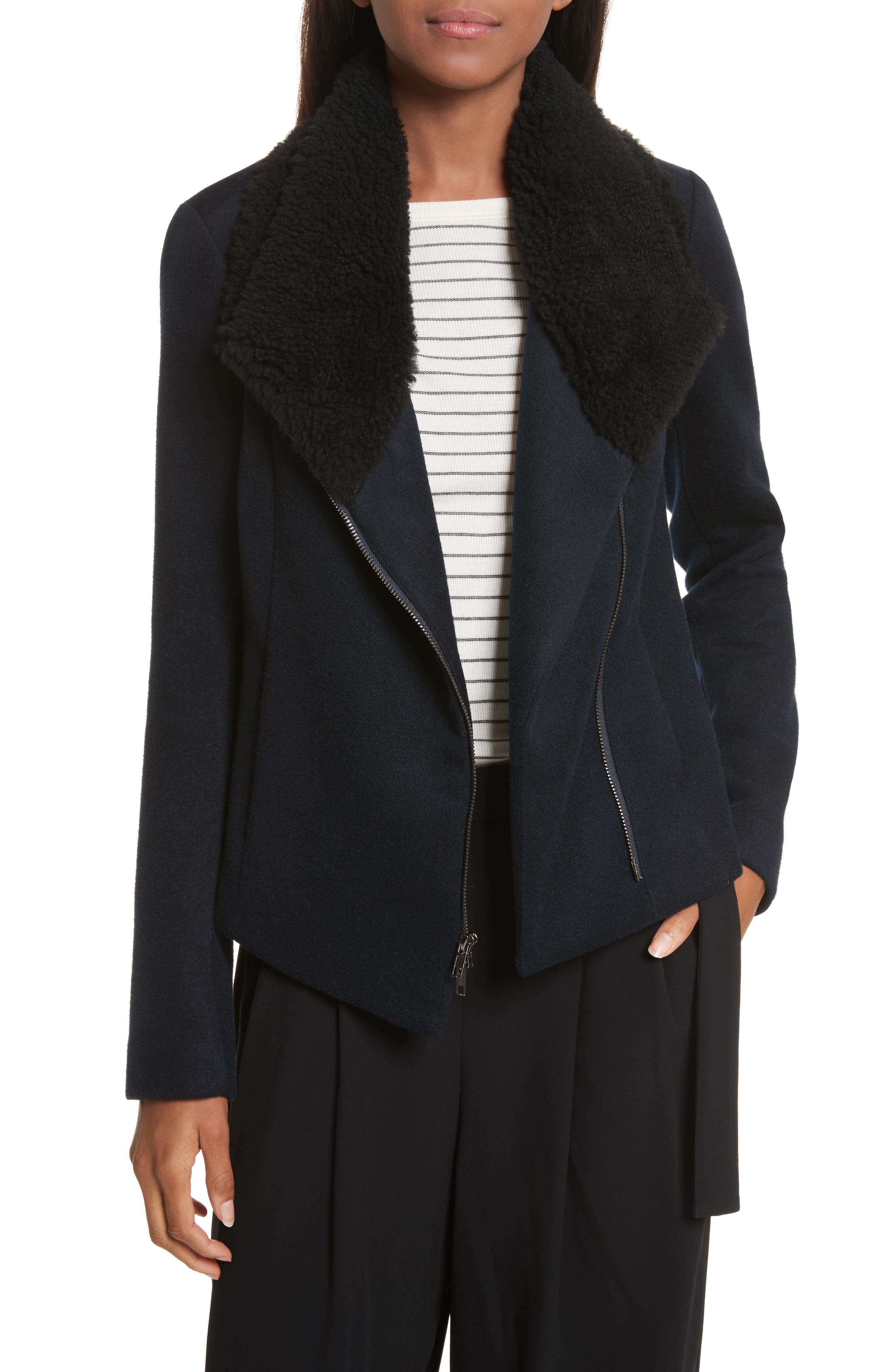 Genuine Shearling Trim Scuba Jacket,                             Main thumbnail 1, color,                             Coastal
