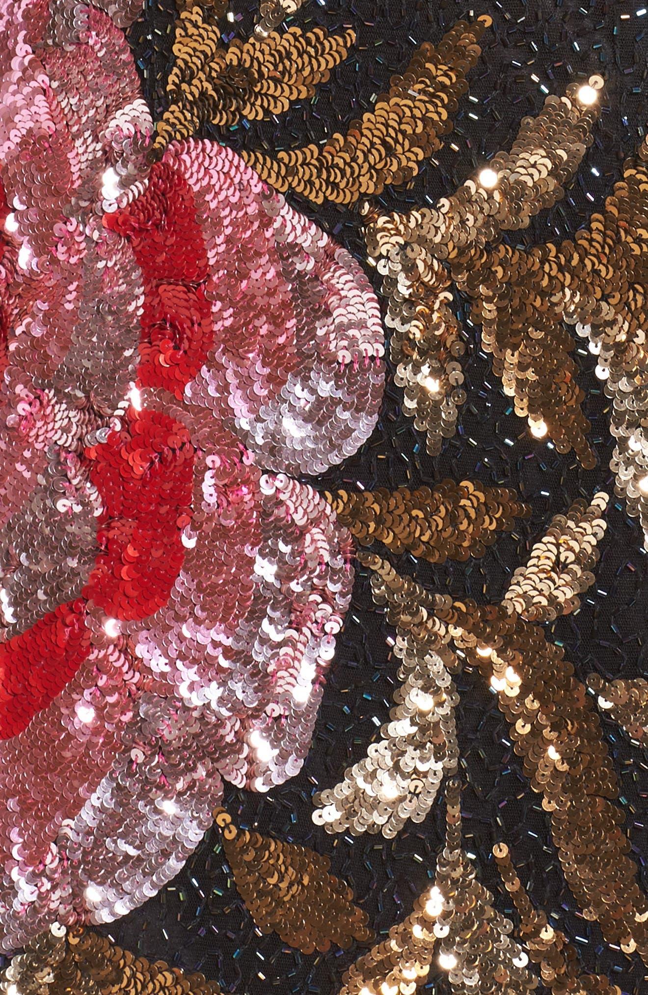 Drape Back Floral Sequin Gown,                             Alternate thumbnail 5, color,                             Black/ Red Multi