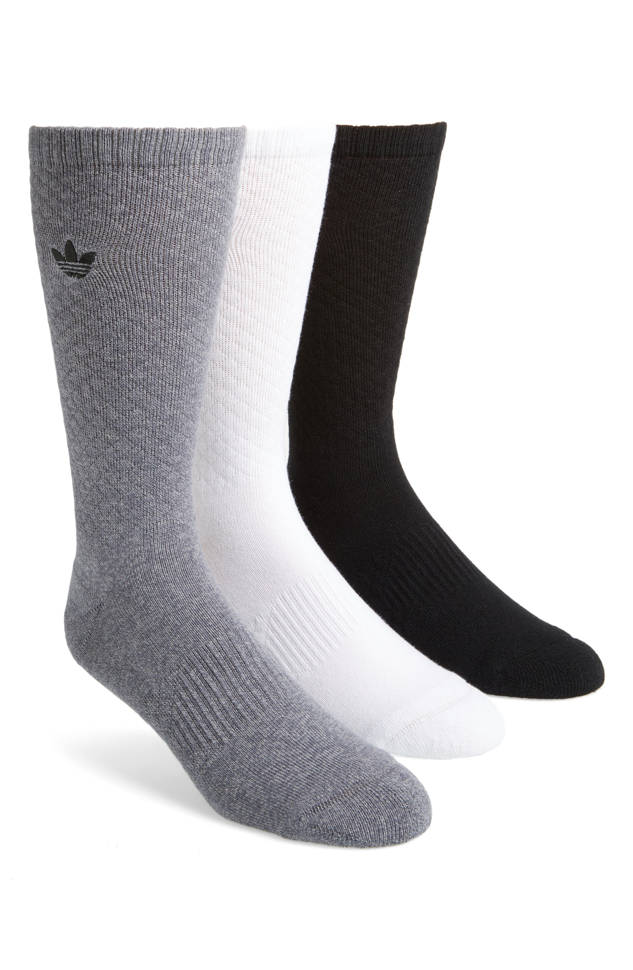 3-Pack Quilted Socks,                         Main,                         color, White/ Black/ Onyx