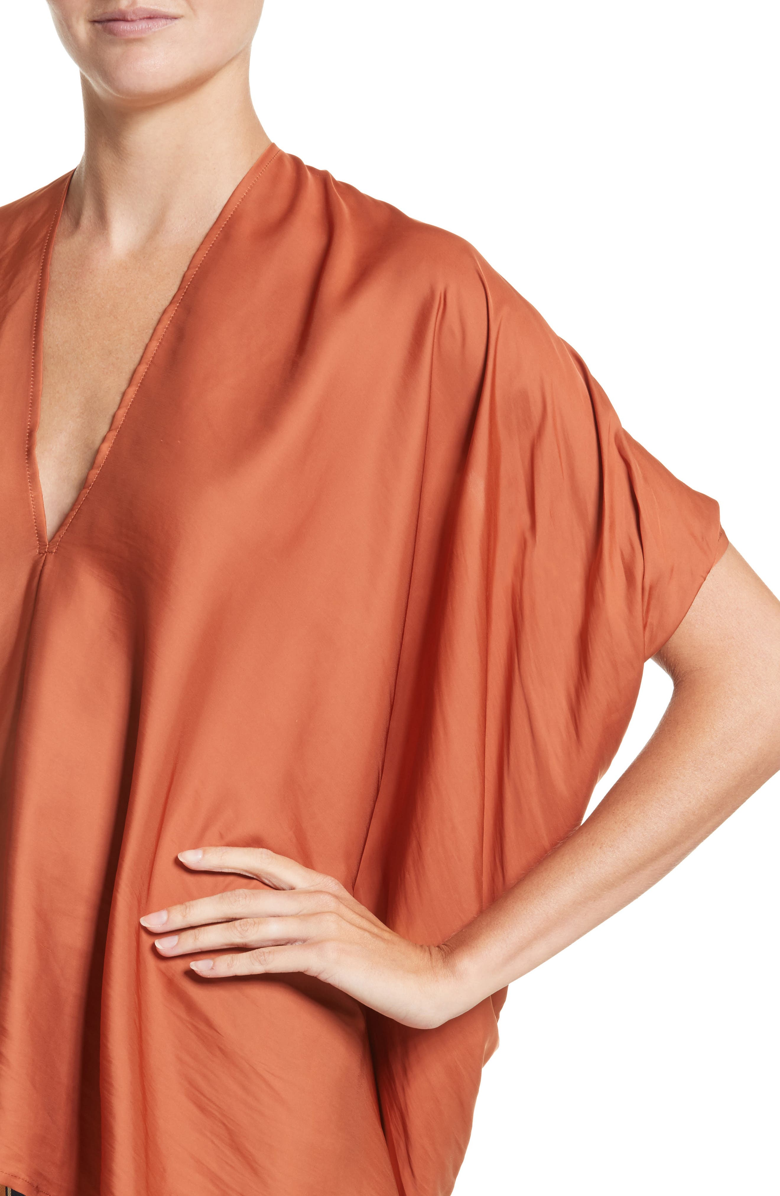 Drape Blouse,                             Alternate thumbnail 6, color,                             Tumeric
