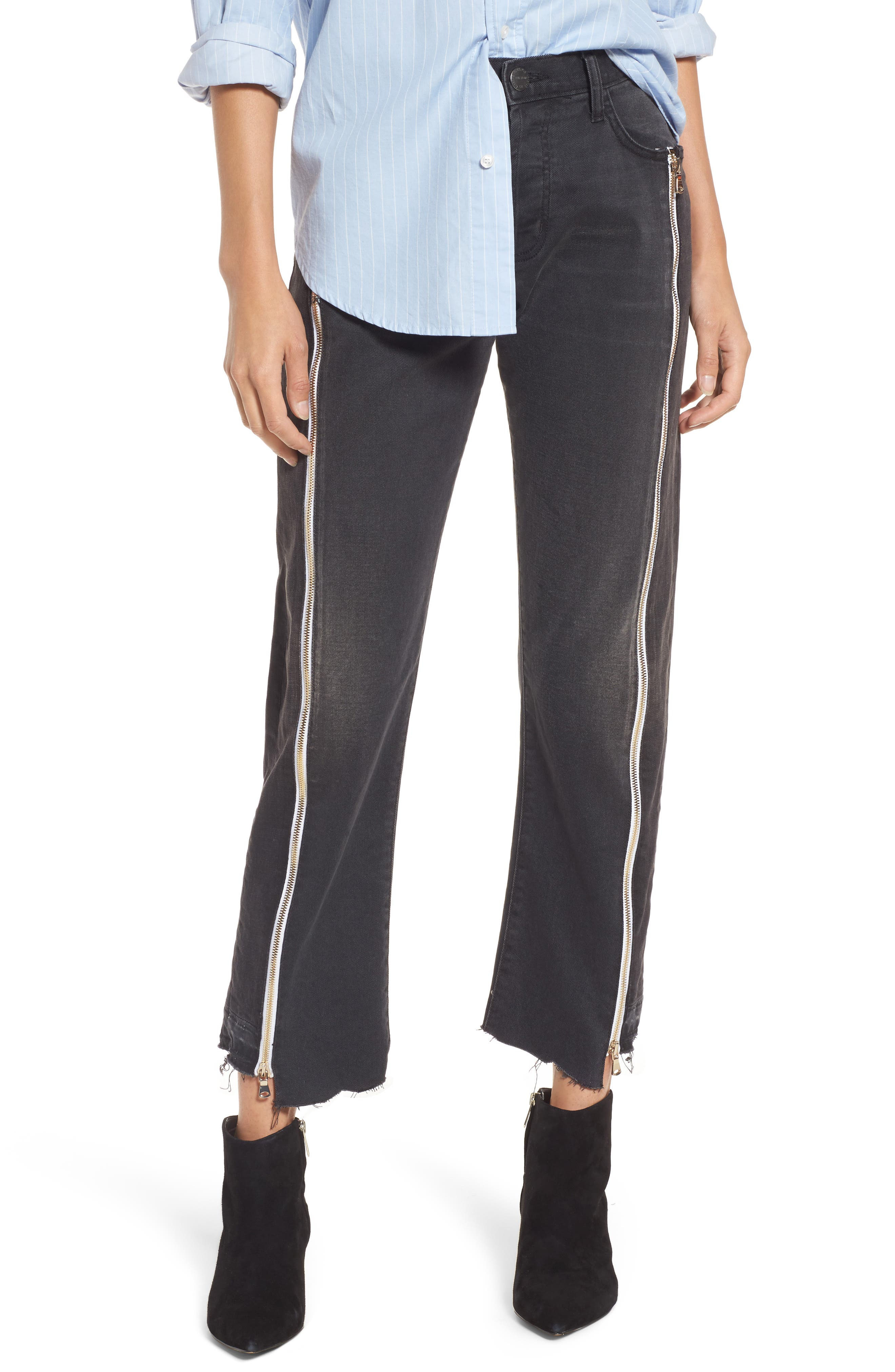 Alternate Image 1 Selected - Current/Elliott The Dallon Zip High Waist Crop Straight Jeans (Highline)
