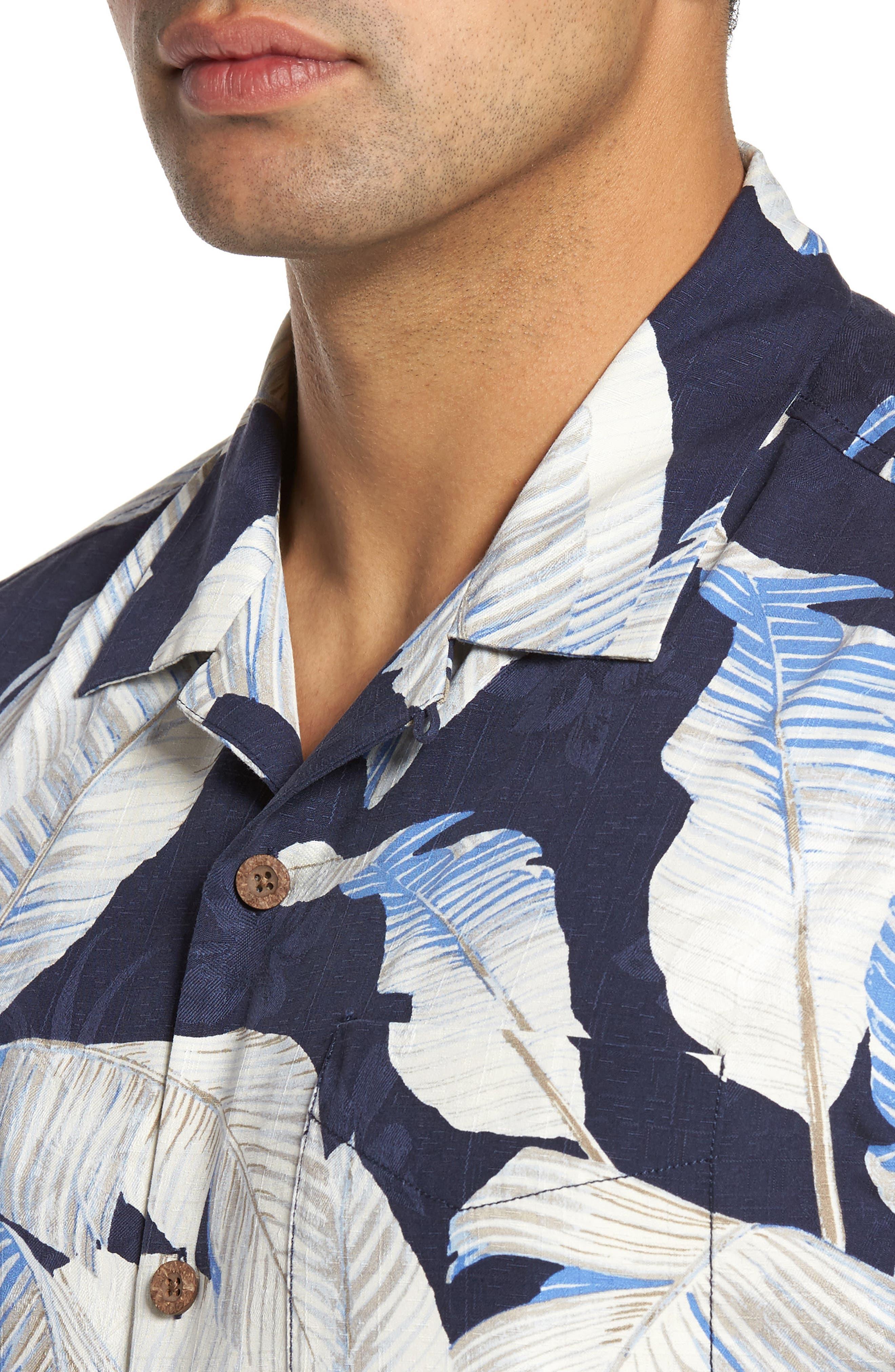 Cascara Fronds Silk Camp Shirt,                             Alternate thumbnail 4, color,                             Ocean Deep